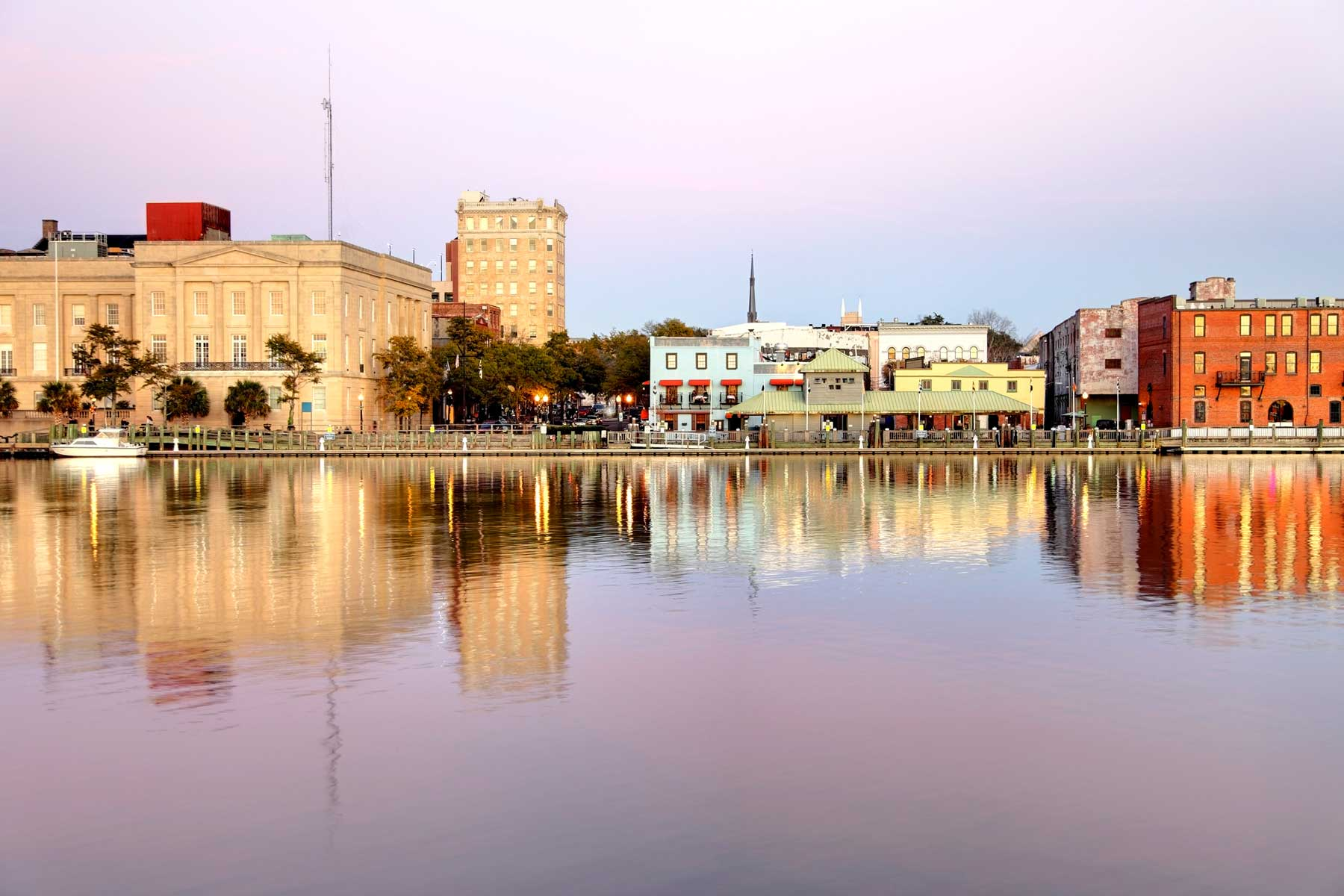 Downtown Wilmington along the banks of the Cape Fear River