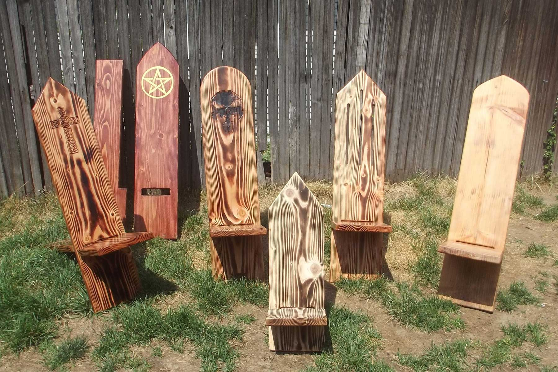 Wooden Stargazing 'Viking' Chairs from Etsy