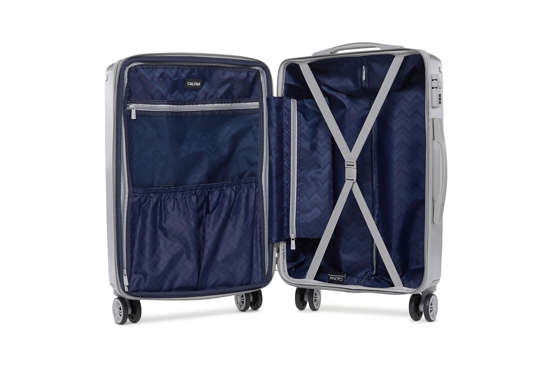 Interior of silver carry-on suitcase