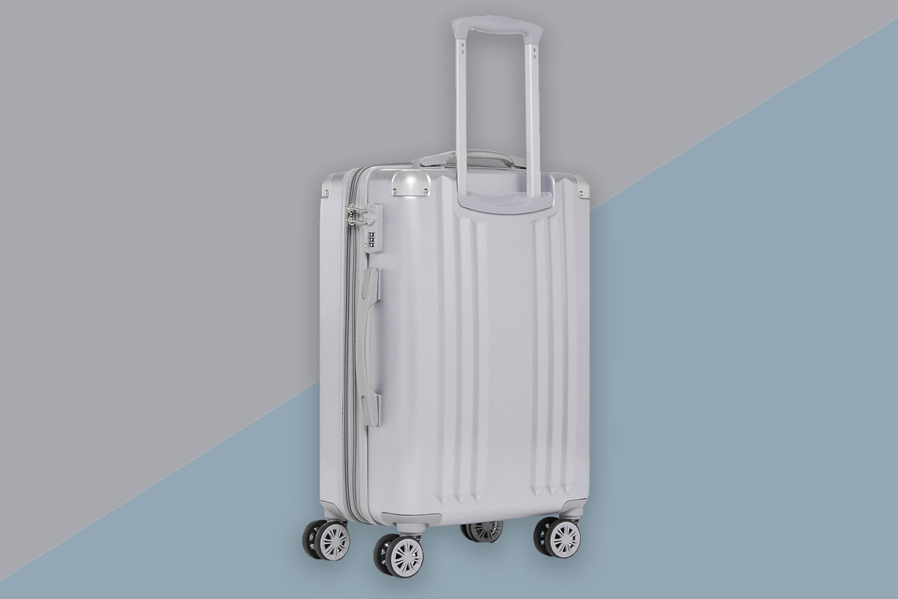 Silver carry-on suitcase