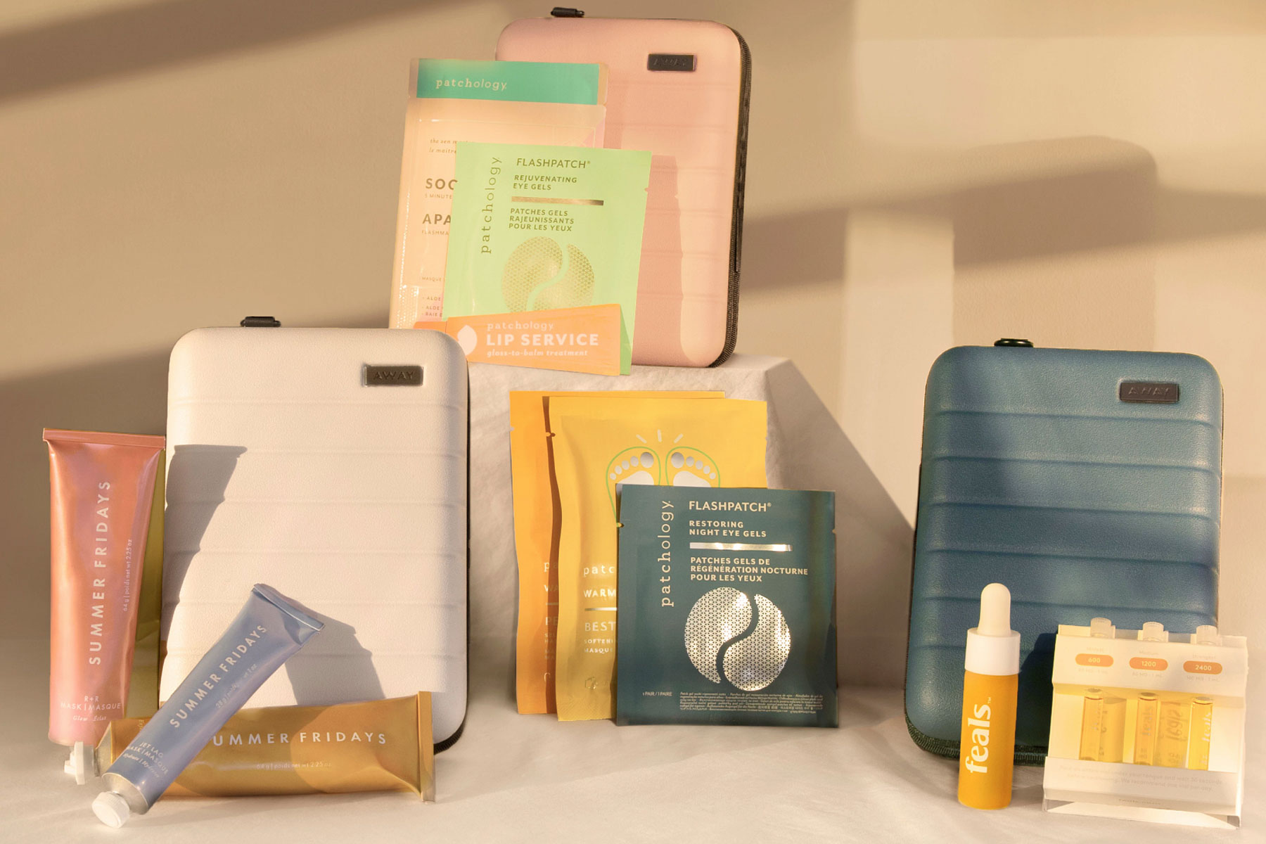 Away mini suitcases and skincare products
