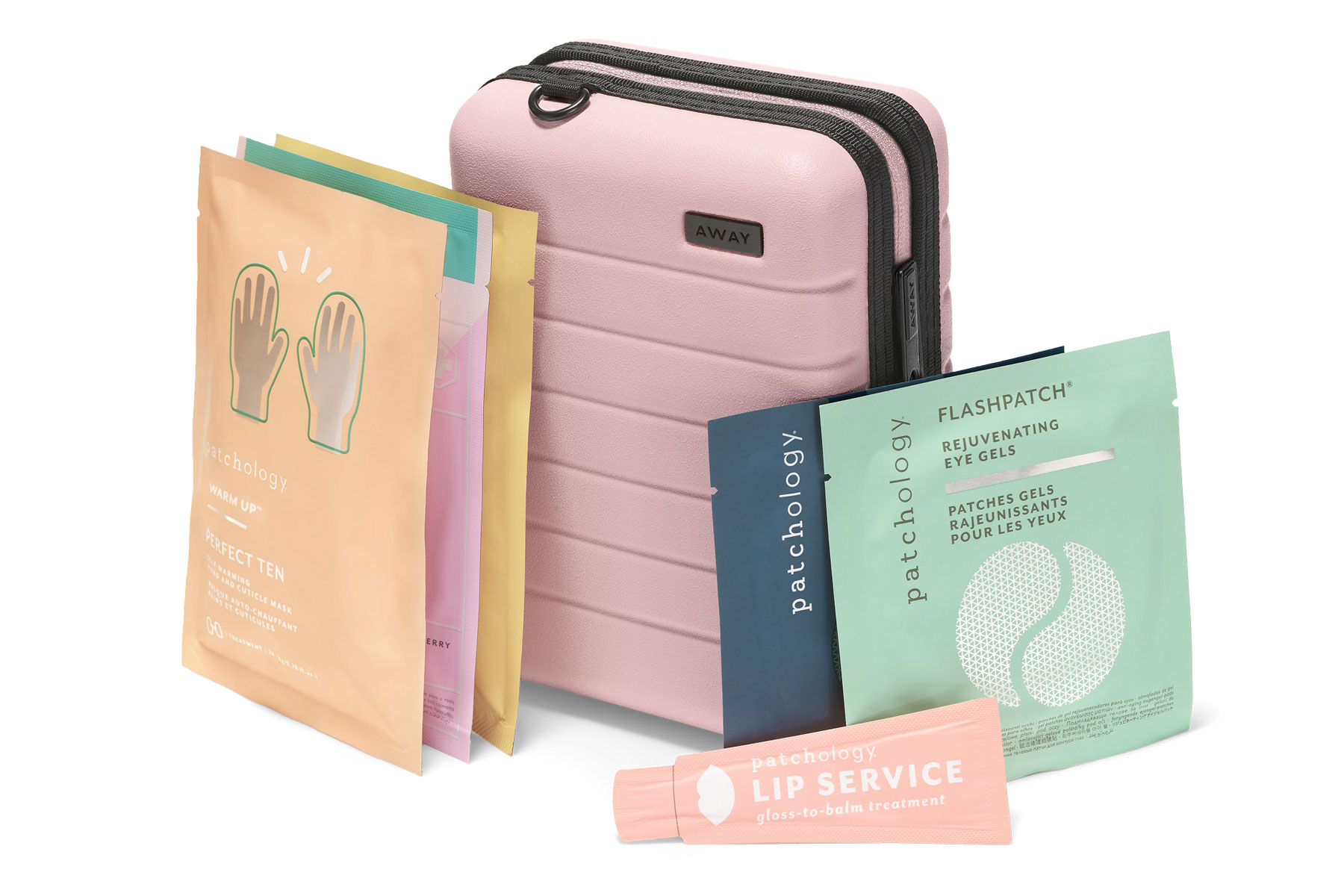 Away mini suitcase and skincare products