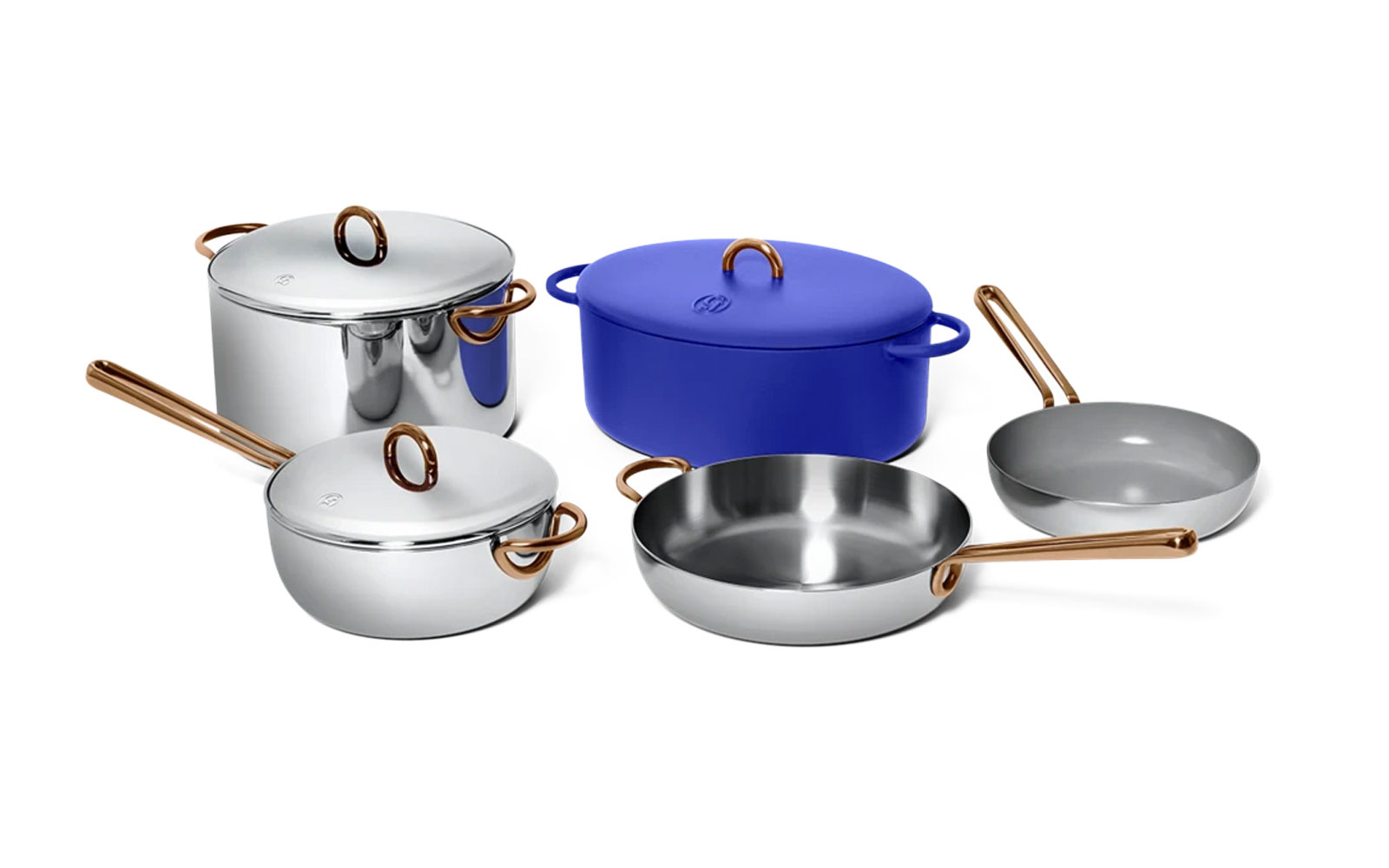 Stainless steel and blue cookware set