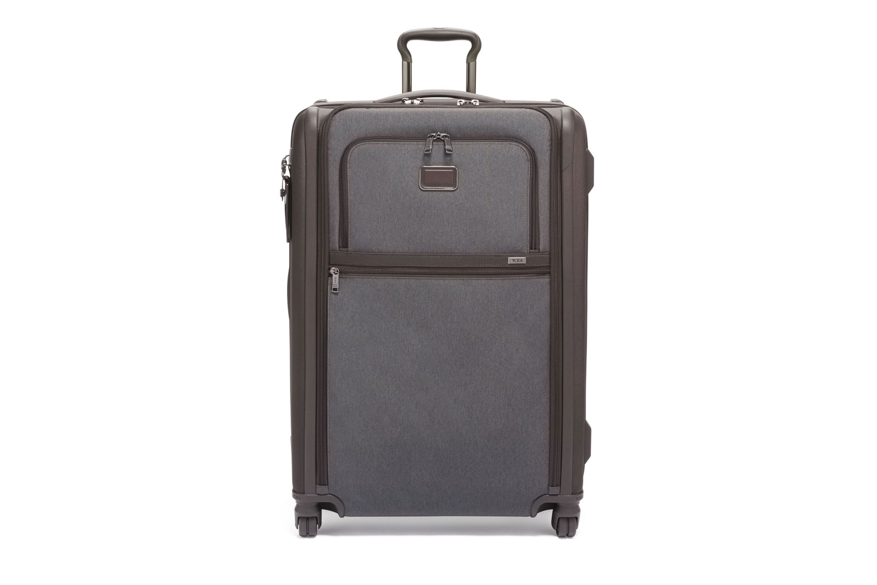 Grey and brown soft-side rolling suitcase