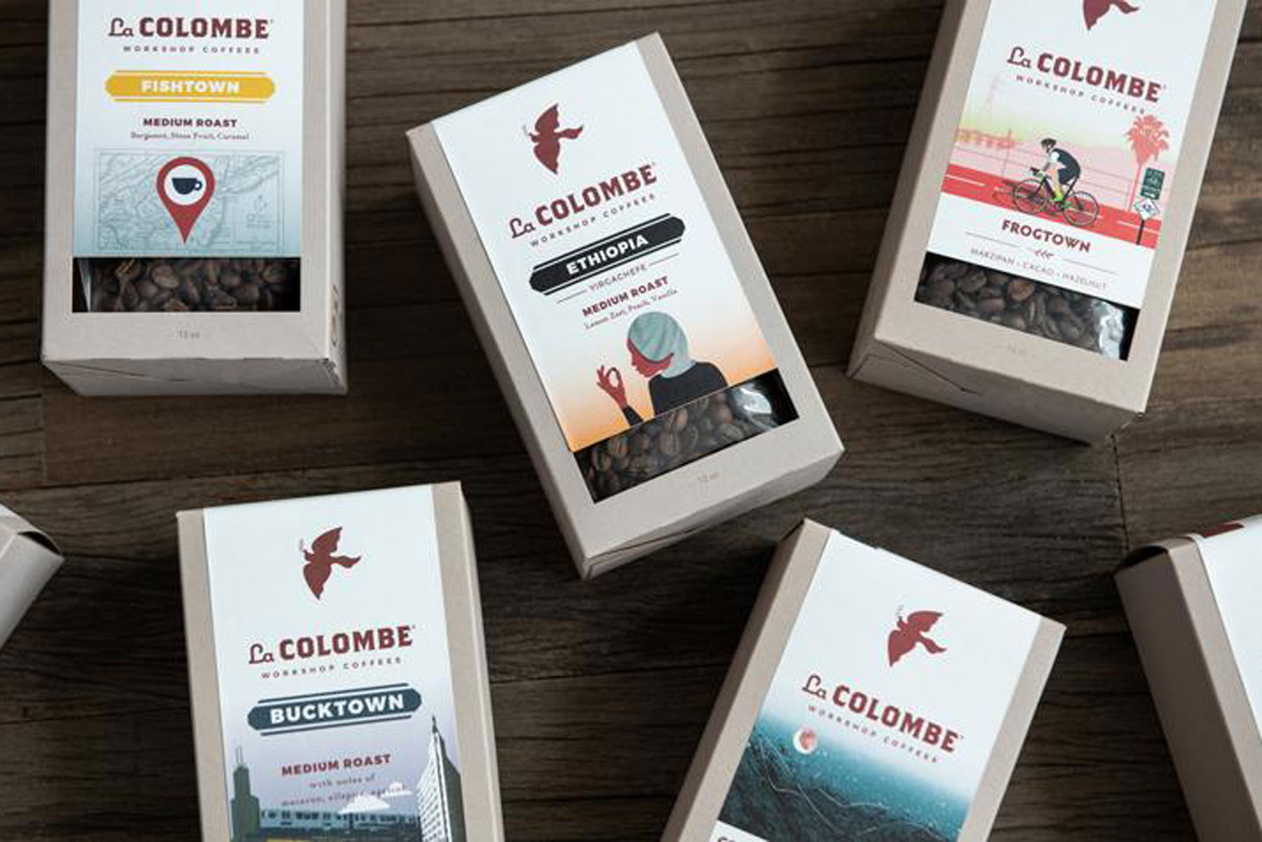 Various boxes of coffee