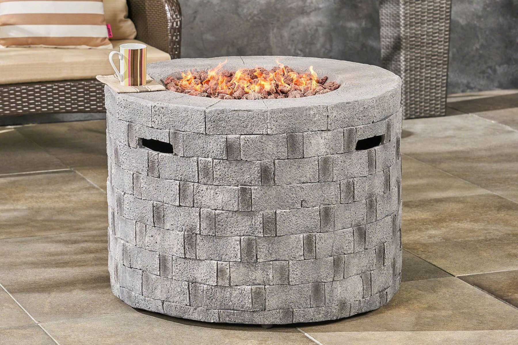 Christopher Knight Home Lightweight Circular Concrete Gas Fire Pit
