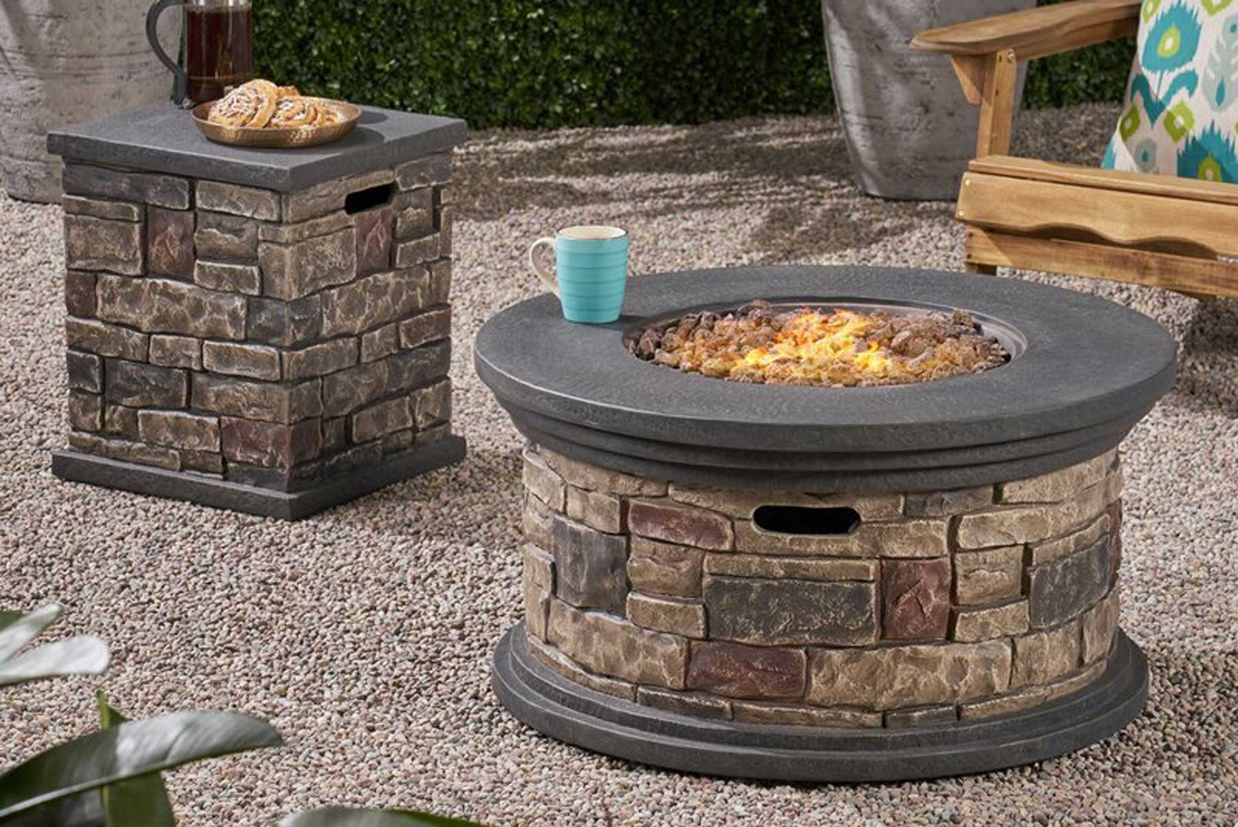 Loon Peak Keper Concrete Propane Fire Pit with Tank Holder