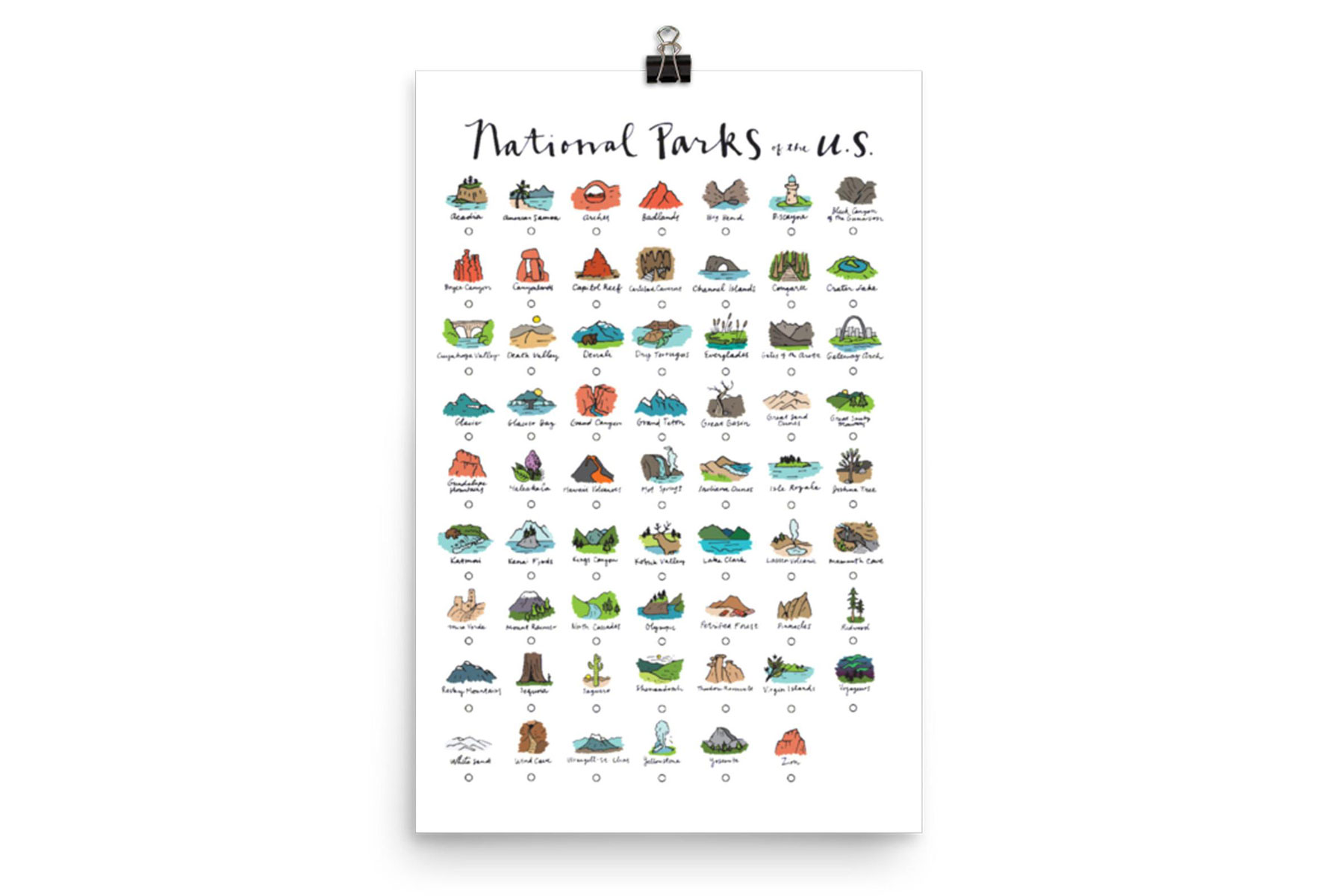 National Parks Checklist Poster