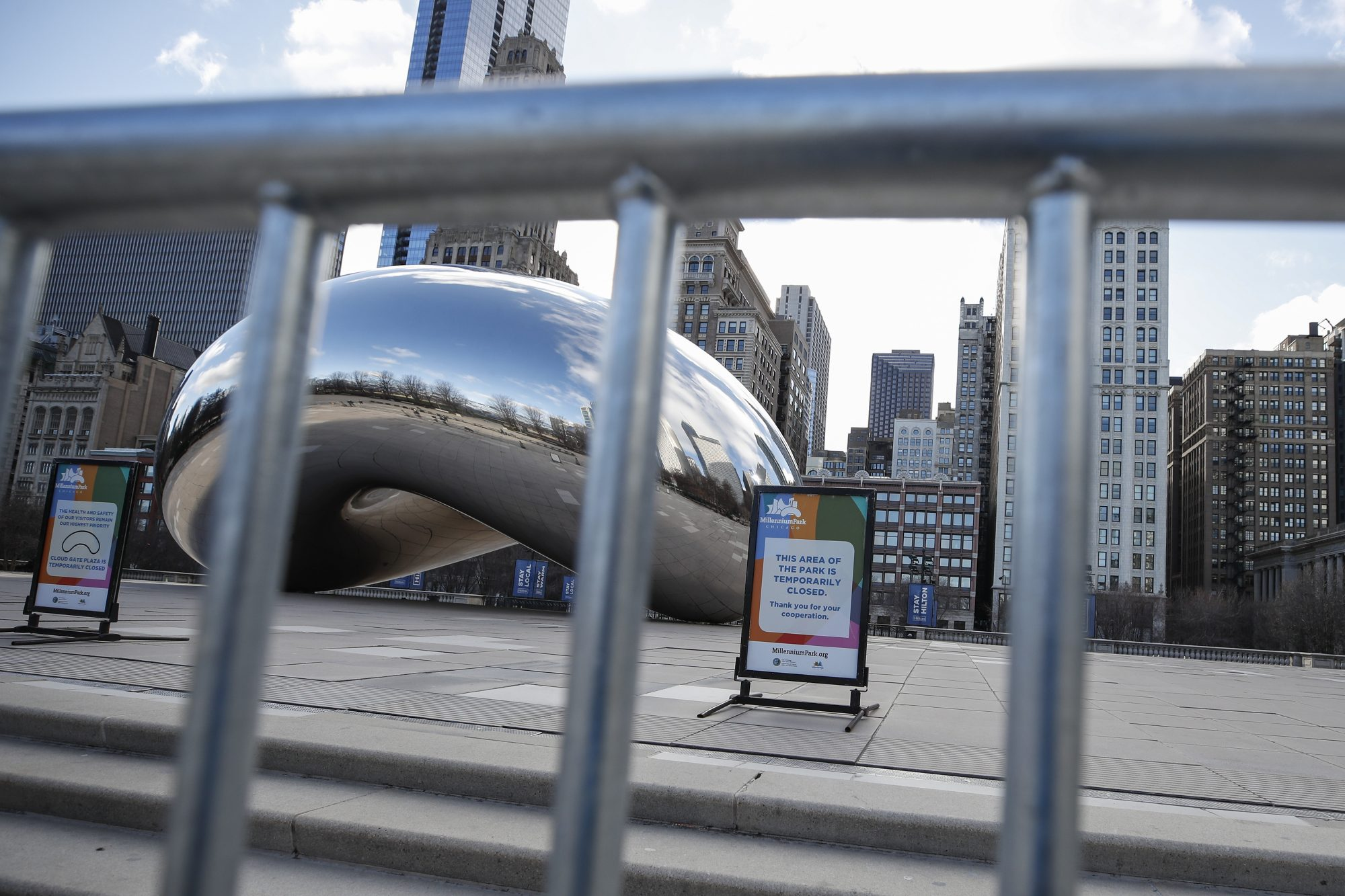 "The ""Bean"", is seen closed off in Millennium Park in Chicago, Ill. during the state's ""Stay at Home"" order."