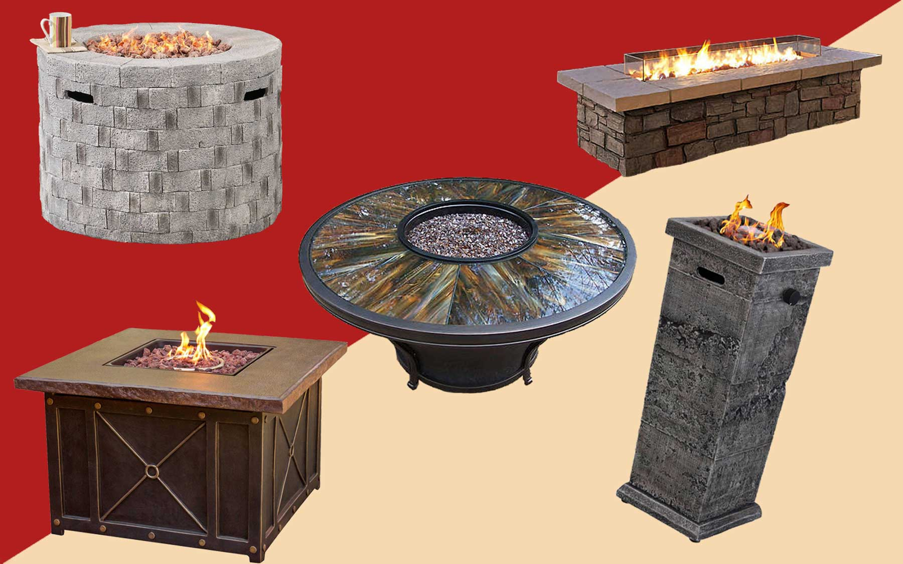 Fire pits, fire tables, and fire columns from various brands.