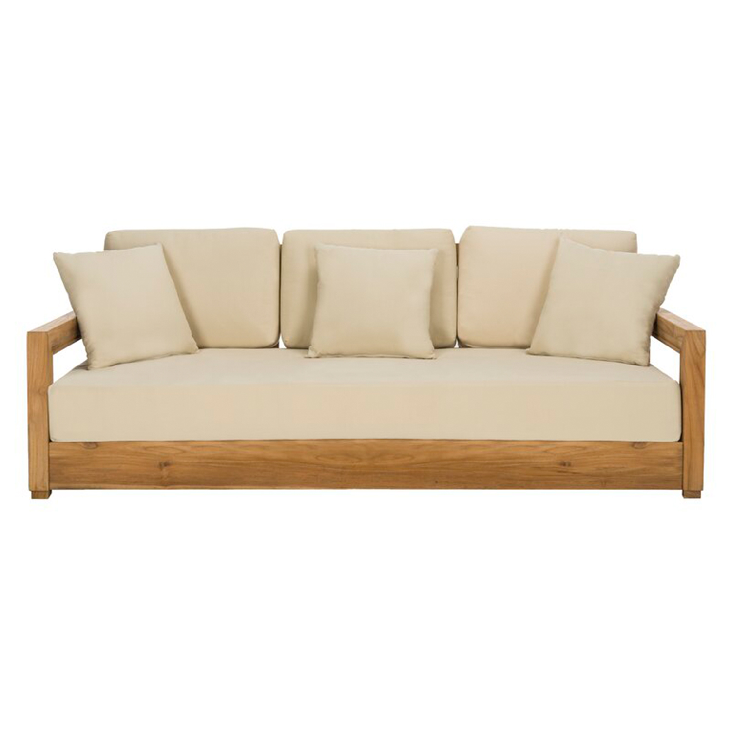 O'Kean Teak Patio Sofa with Cushions