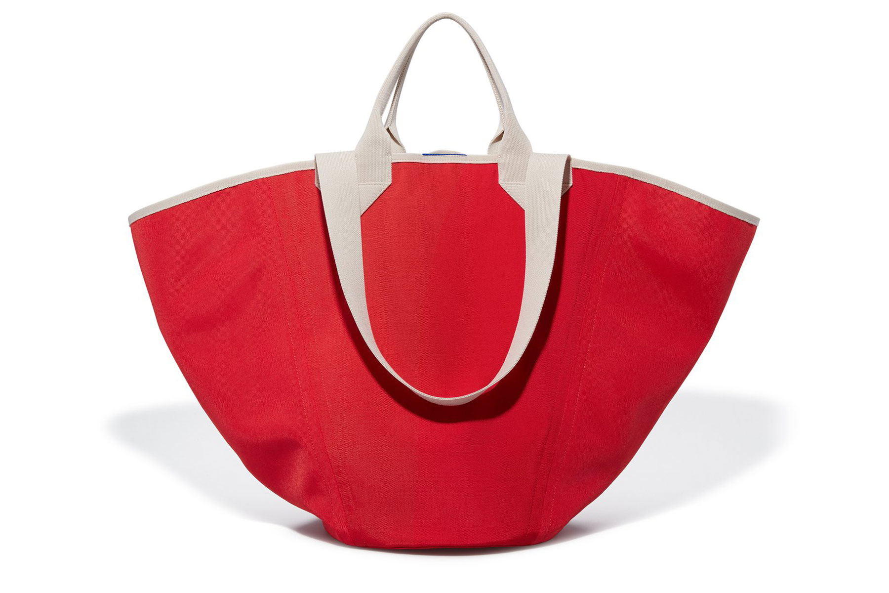 Red canvas tote bag