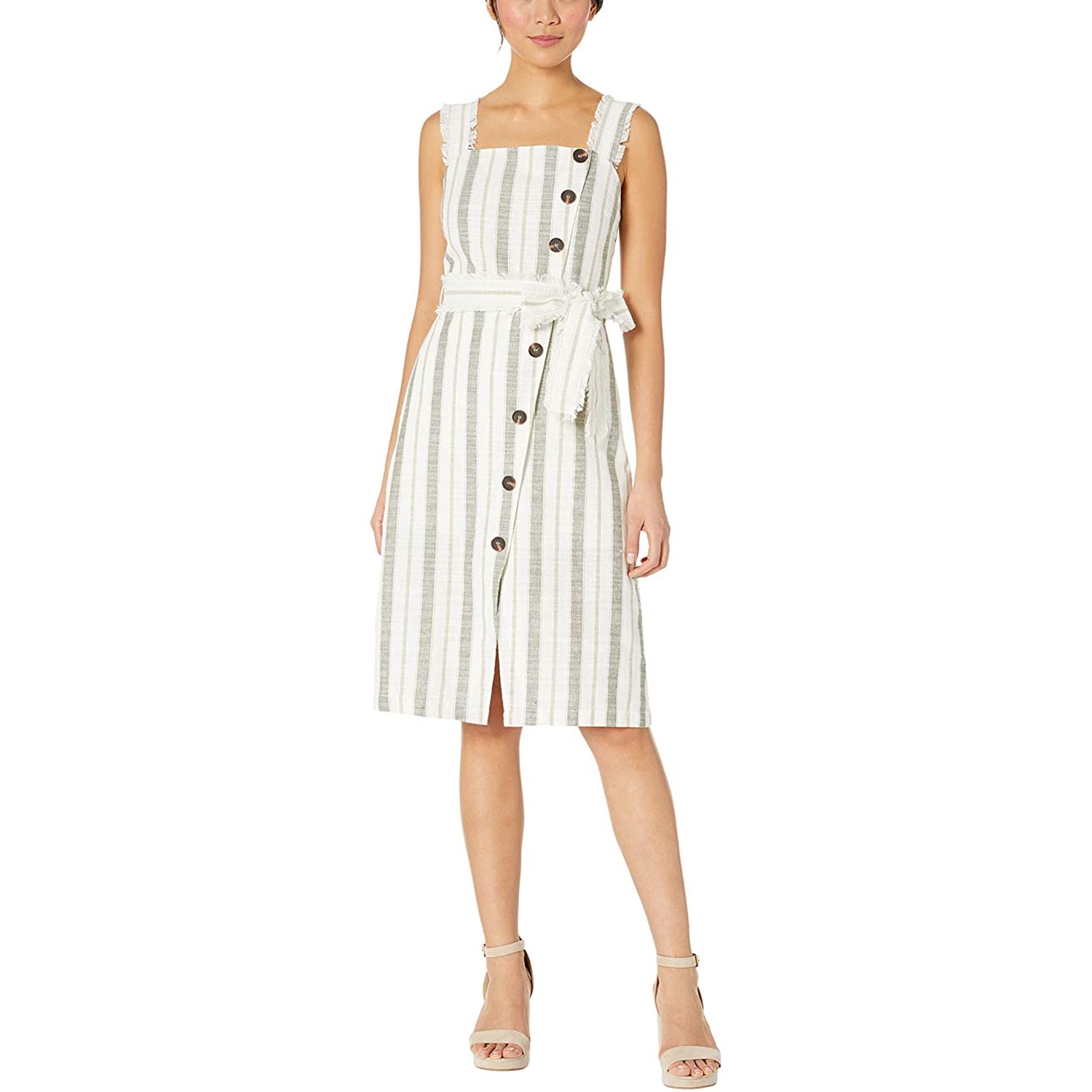 American Rose Aviana Striped Midi Dress with Waist Tie