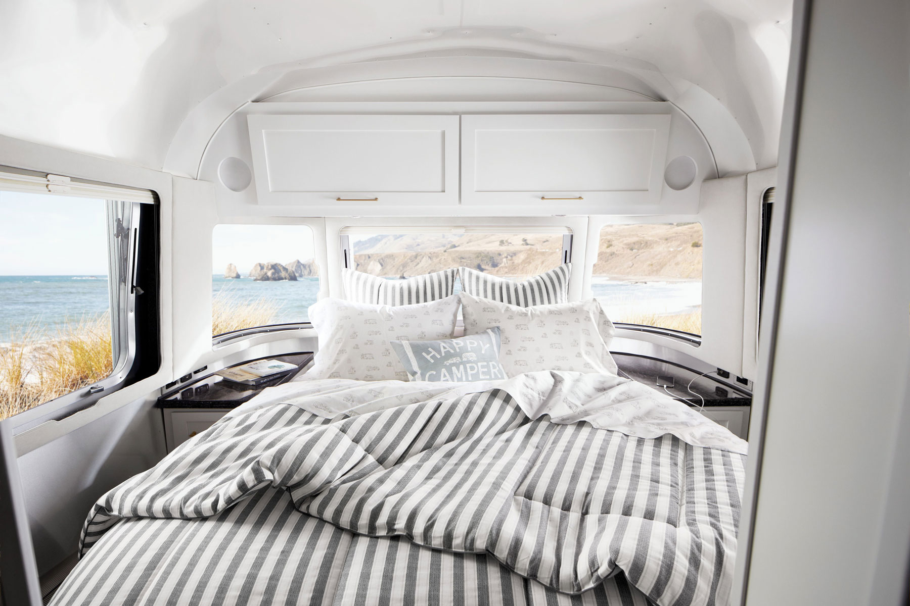 Bed inside Airstream trailer