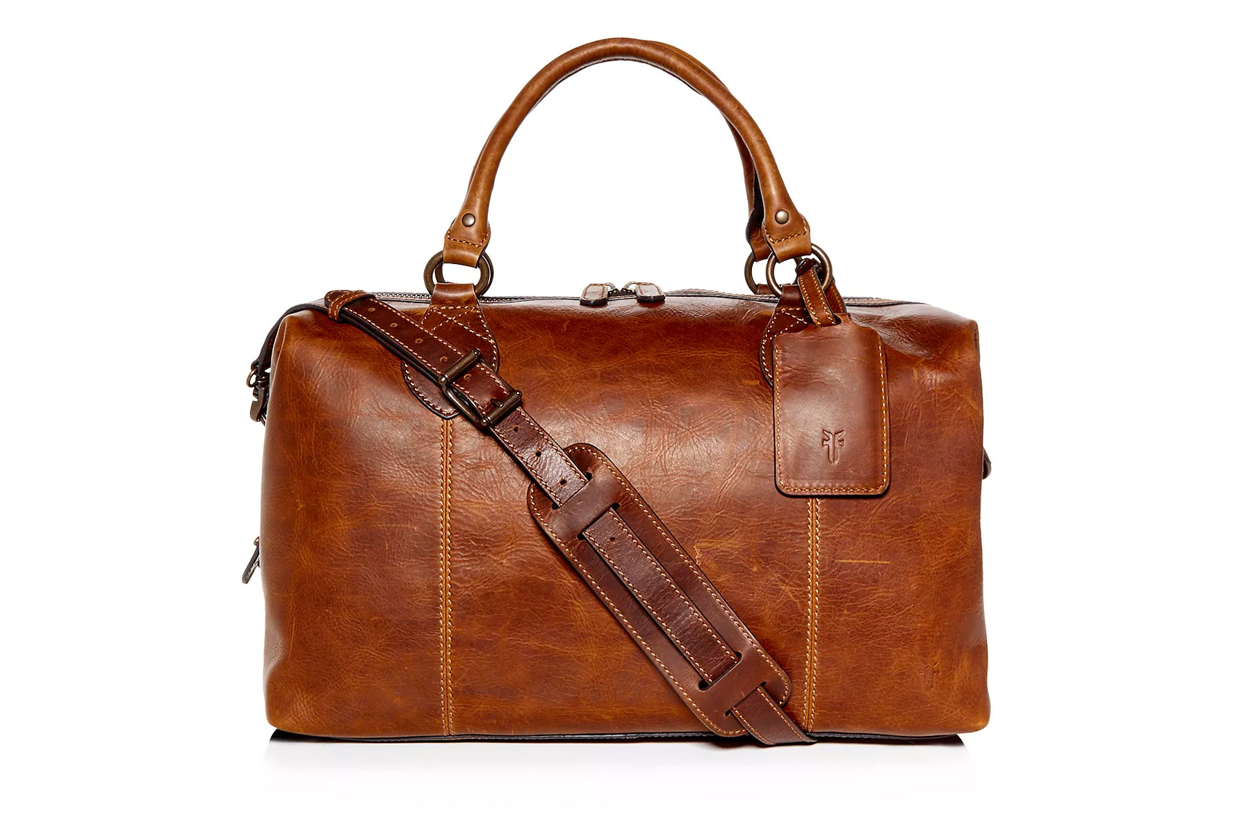Brown leather duffel bag