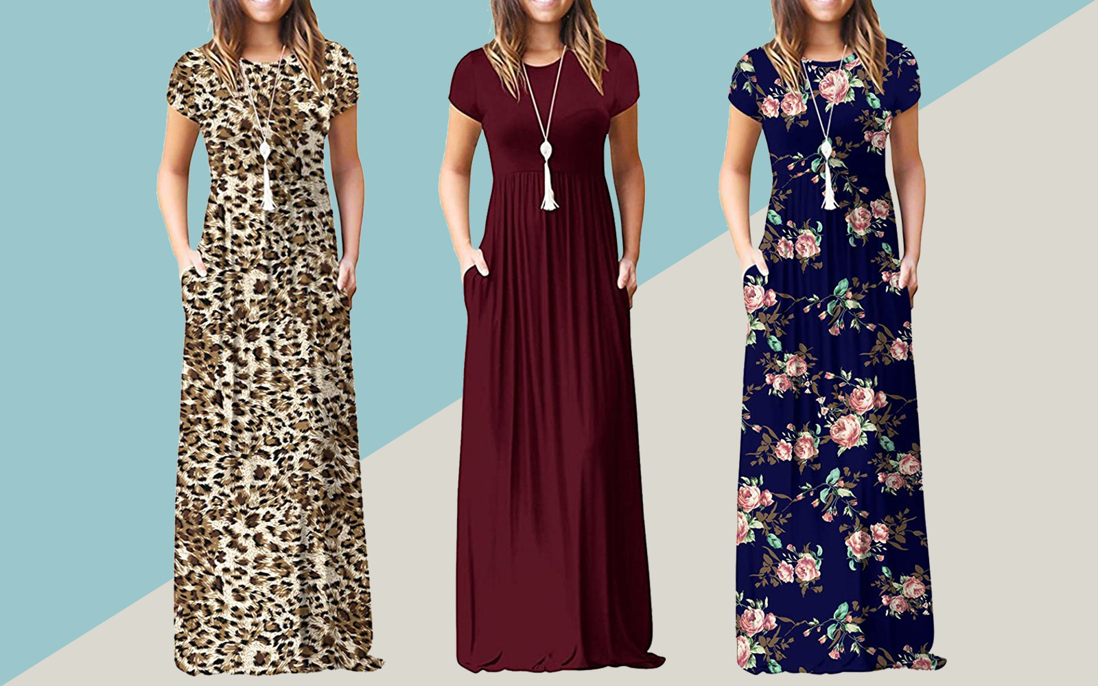 Short Sleeve Loose Plain Maxi Dresses Casual Long Dresses