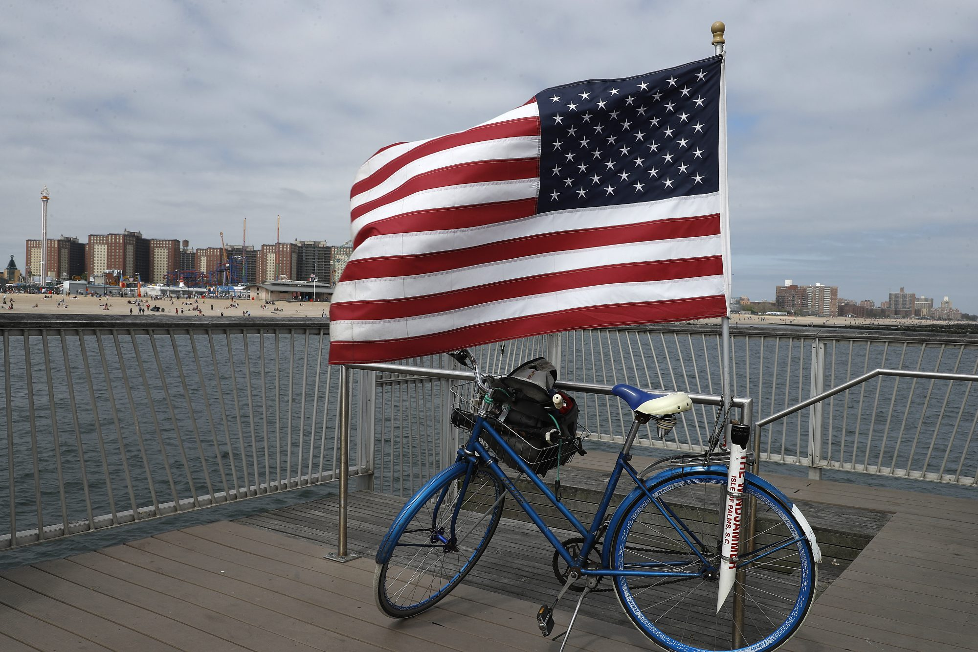 An American flag flies on Coney Island