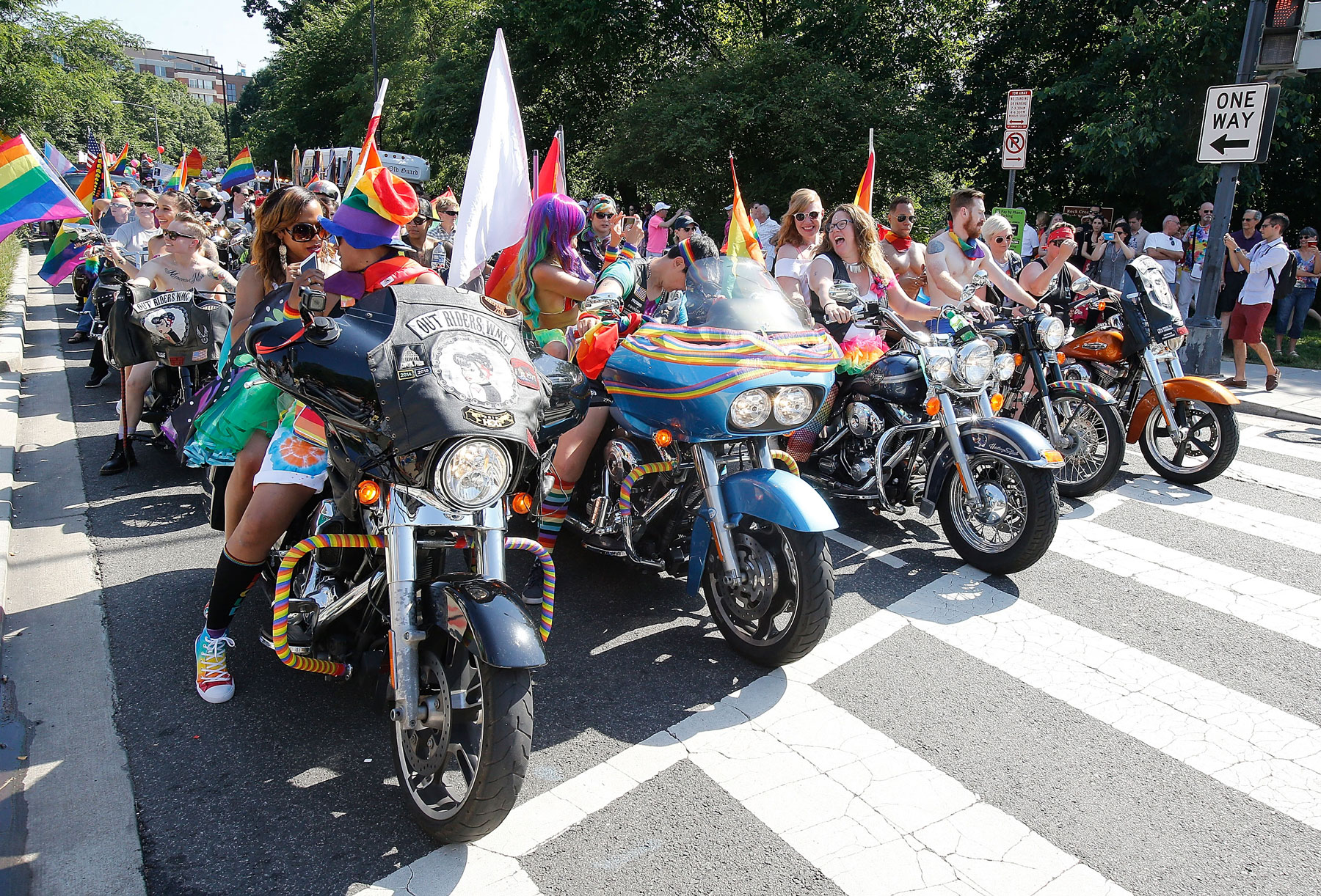 People riding motorcycles in D.C. Pride parade