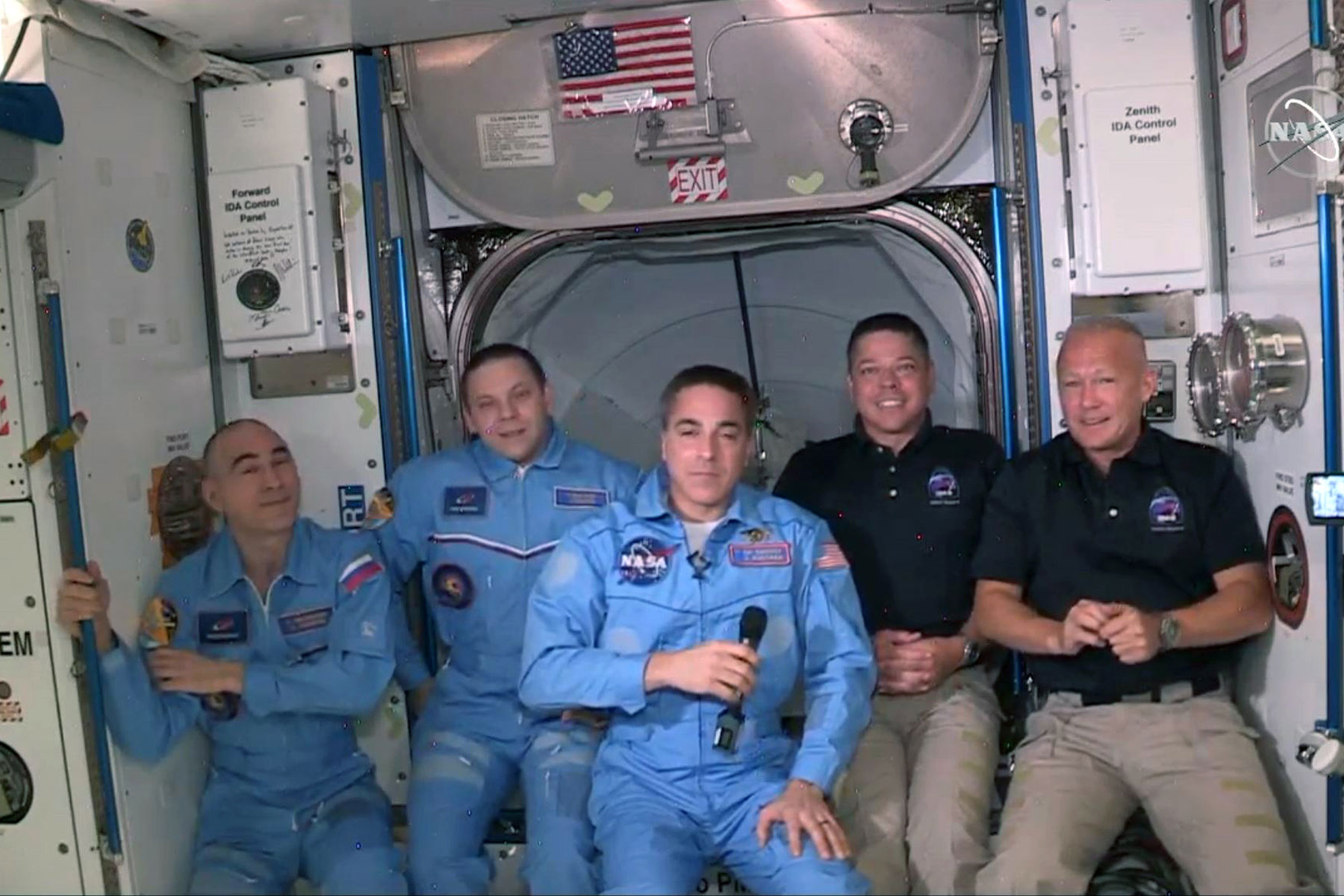 NASA astronauts in in the International Space Station