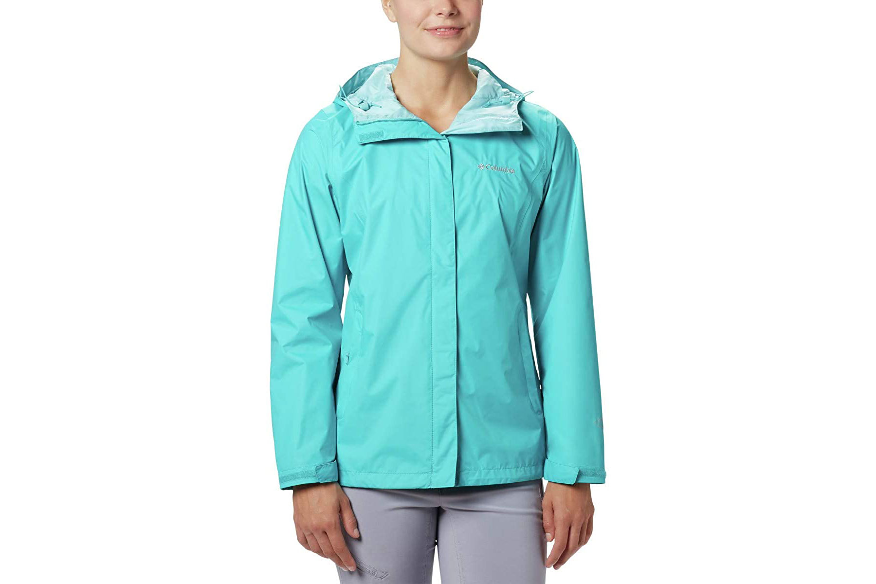 Women's light blue rain jacket