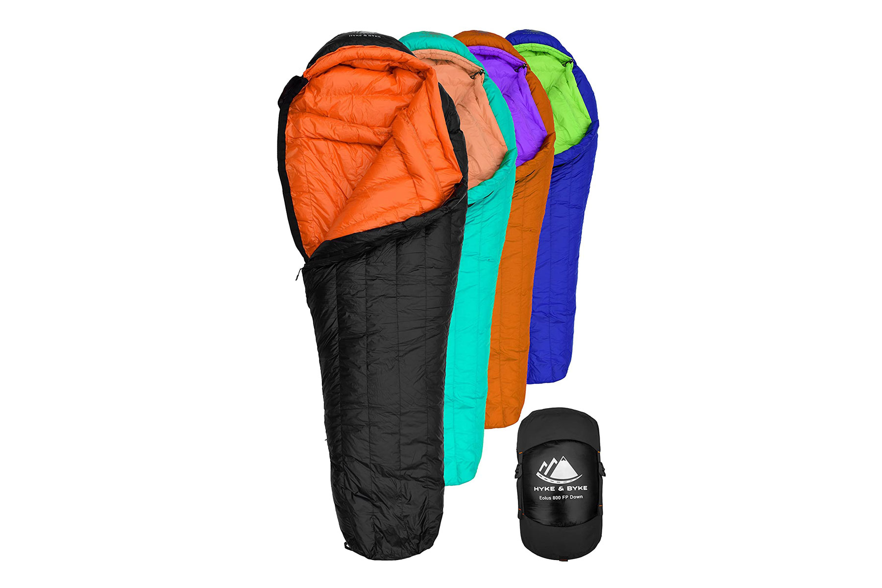 Variety of colorful sleeping bags