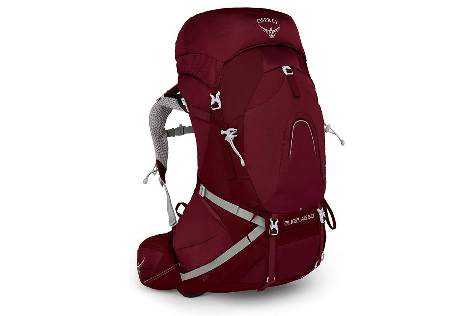 Red women's hiking backpack