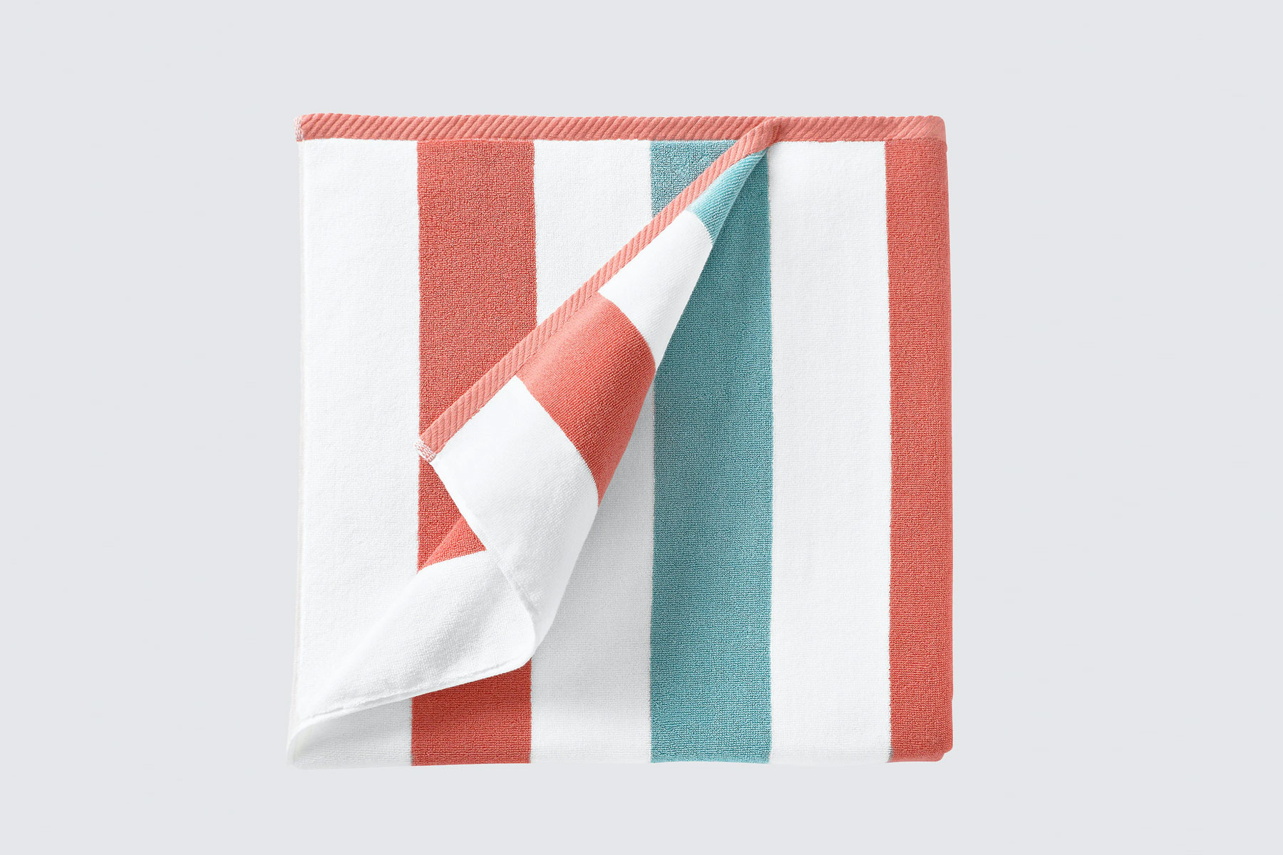 Red and blue striped beach towel