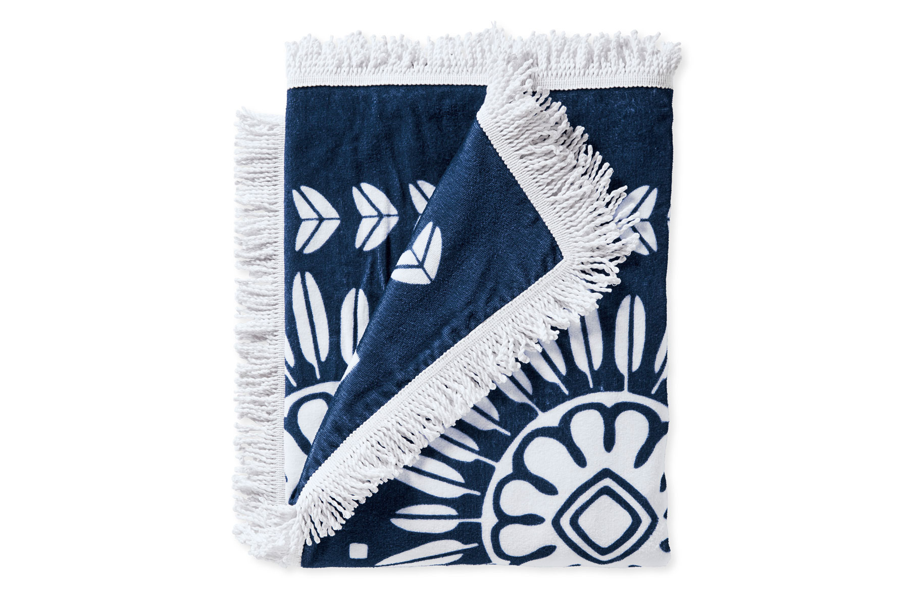 Navy and white printed beach towel