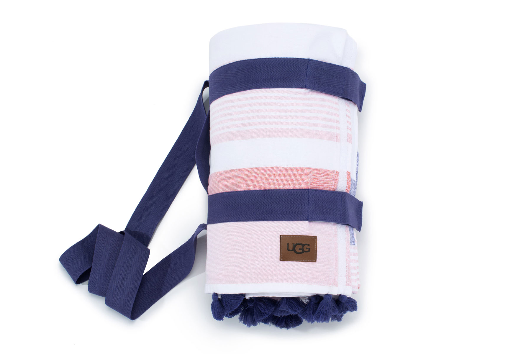 Pink and navy striped beach towel