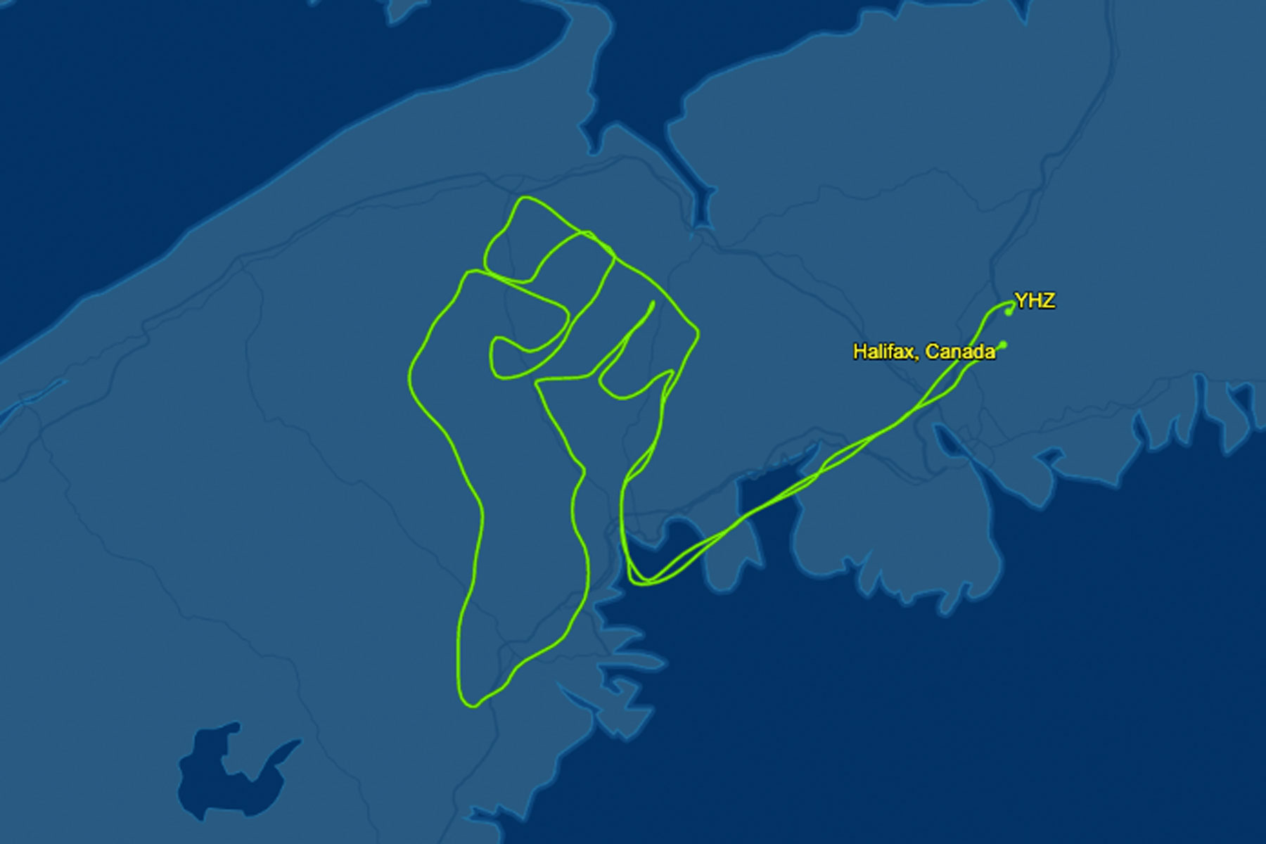 flight tracking software depicts a fist outlined in the sky