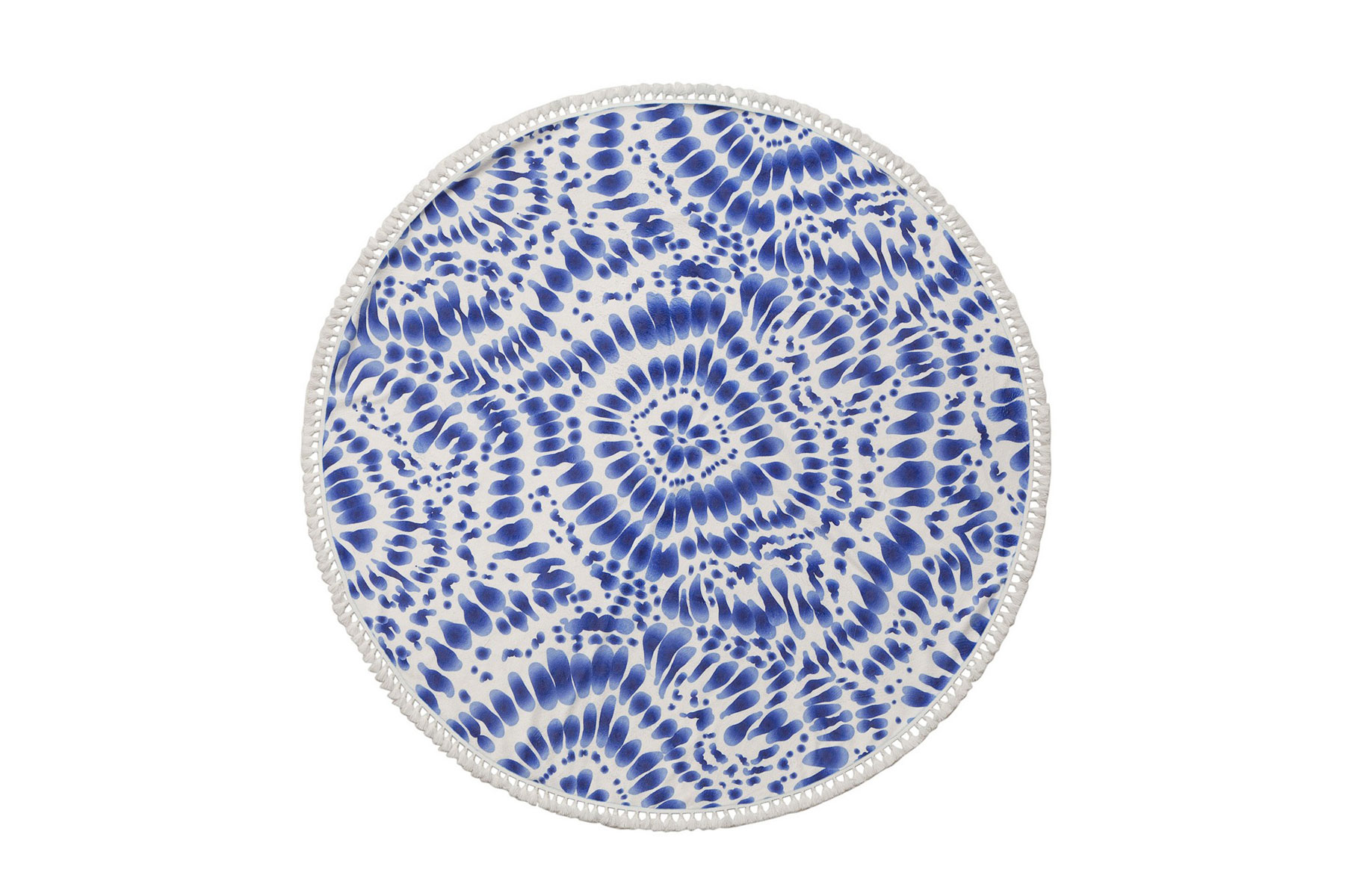 Blue patterned round beach towel