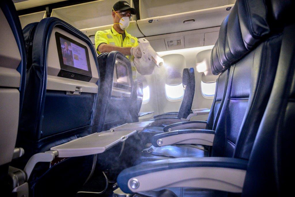 Sanitizing seats on Delta Air Lines