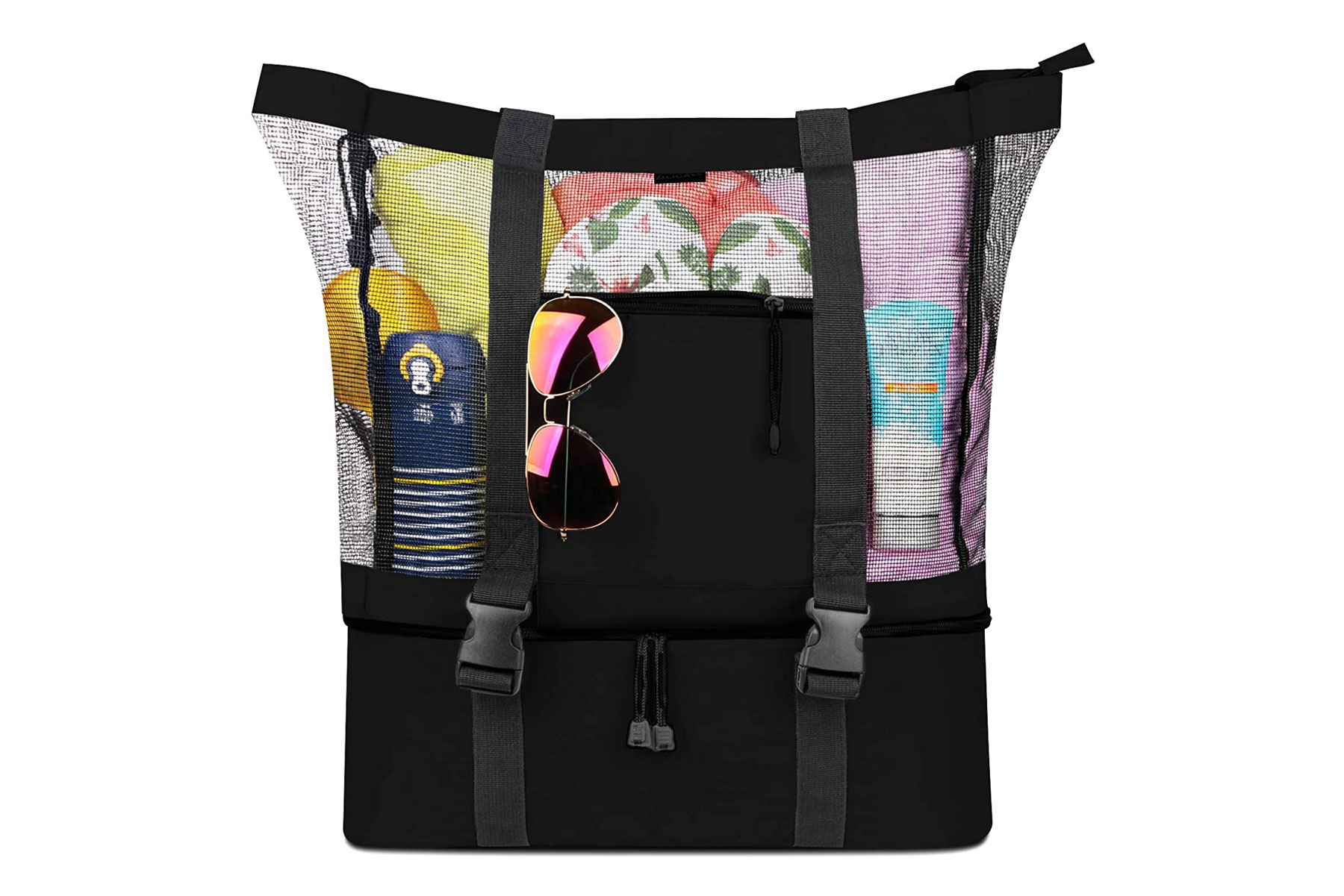 Black mesh beach tote and cooler