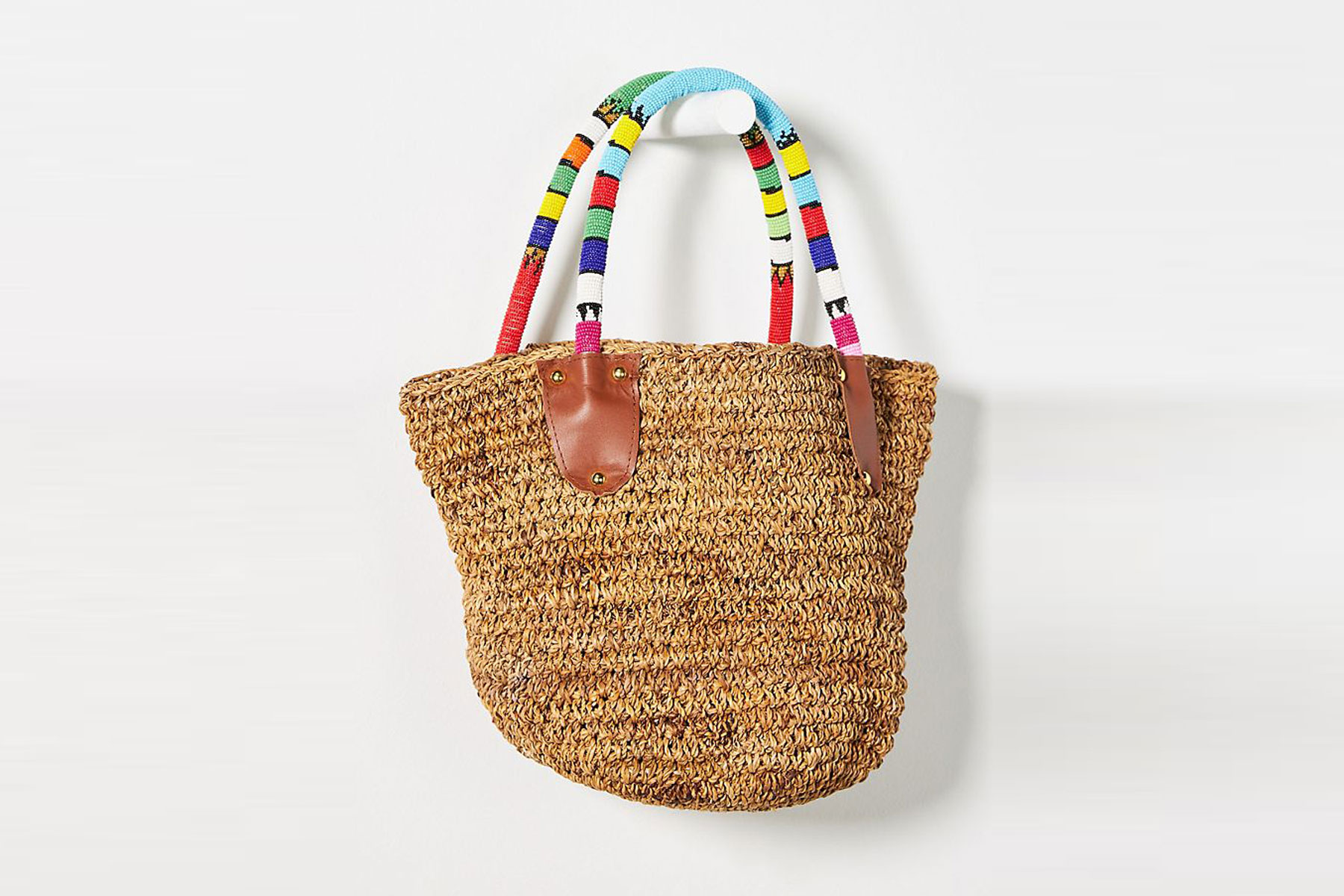 Colorful handle straw tote