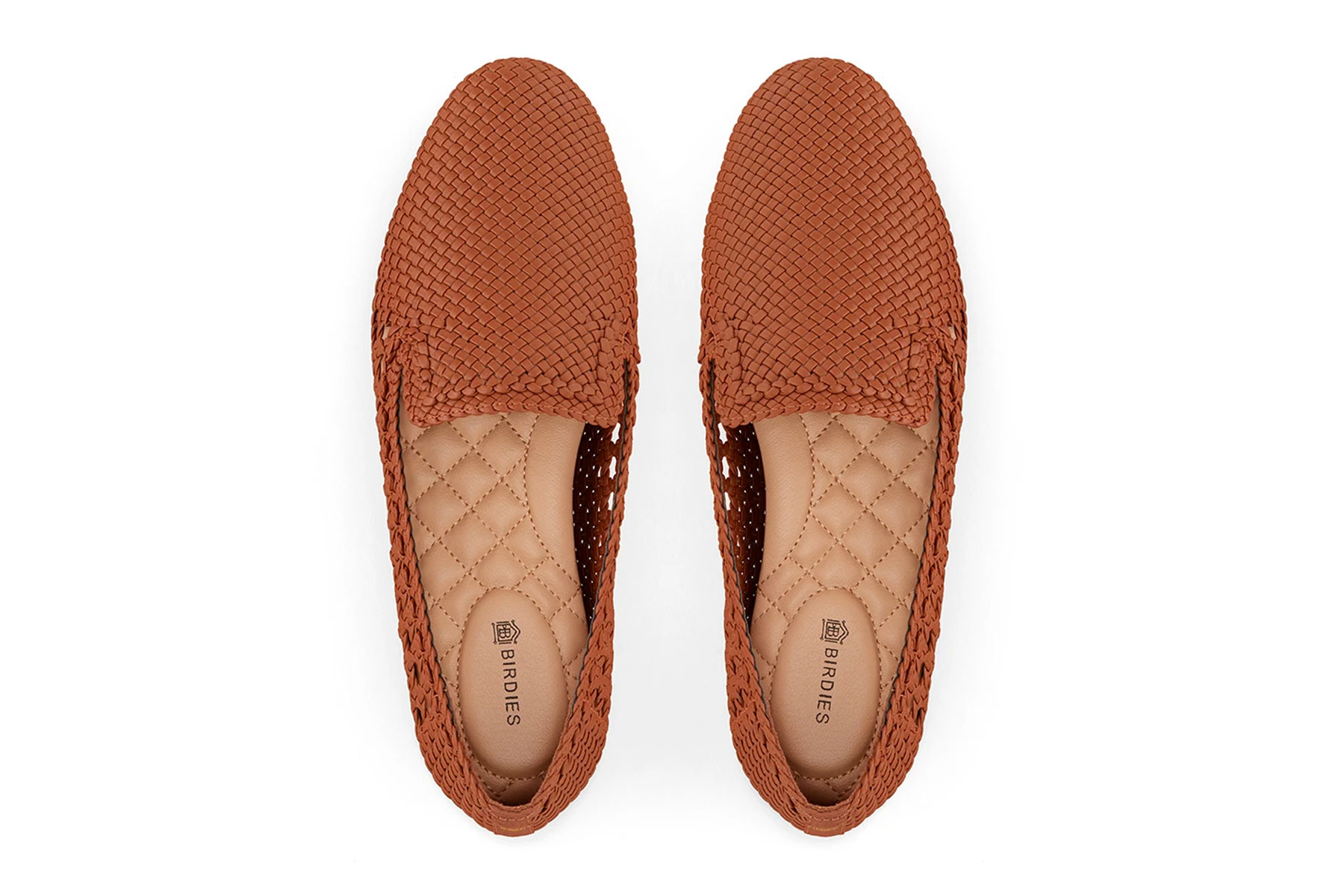 Brown woven flat slip on shoes
