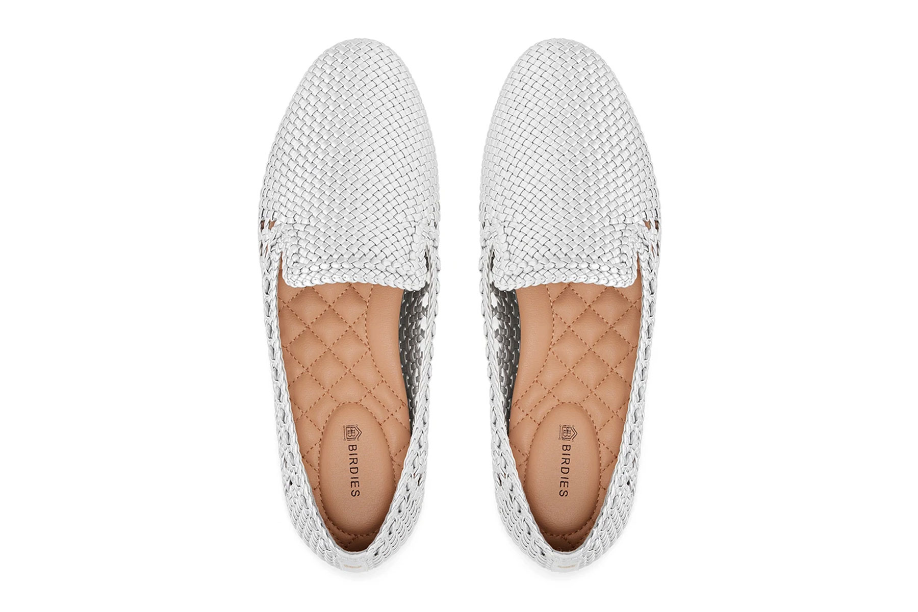 Silver woven flat slip on shoes