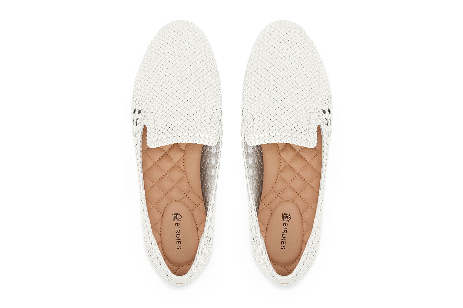 White woven slip on shoes