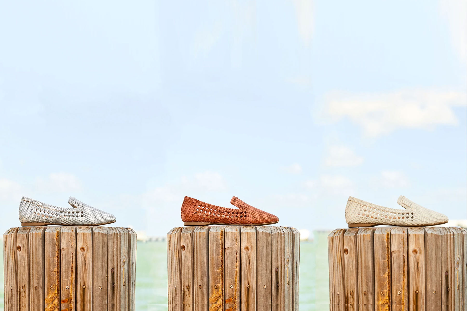 Woven slip on flats by the ocean