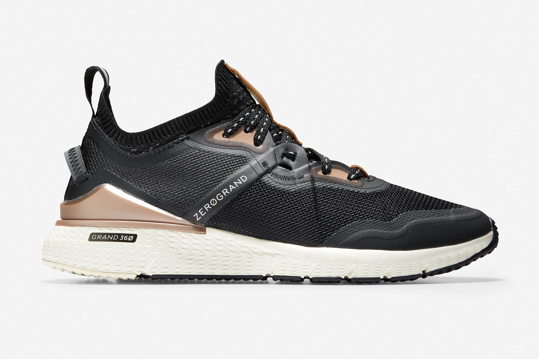 Black and rose gold running shoes