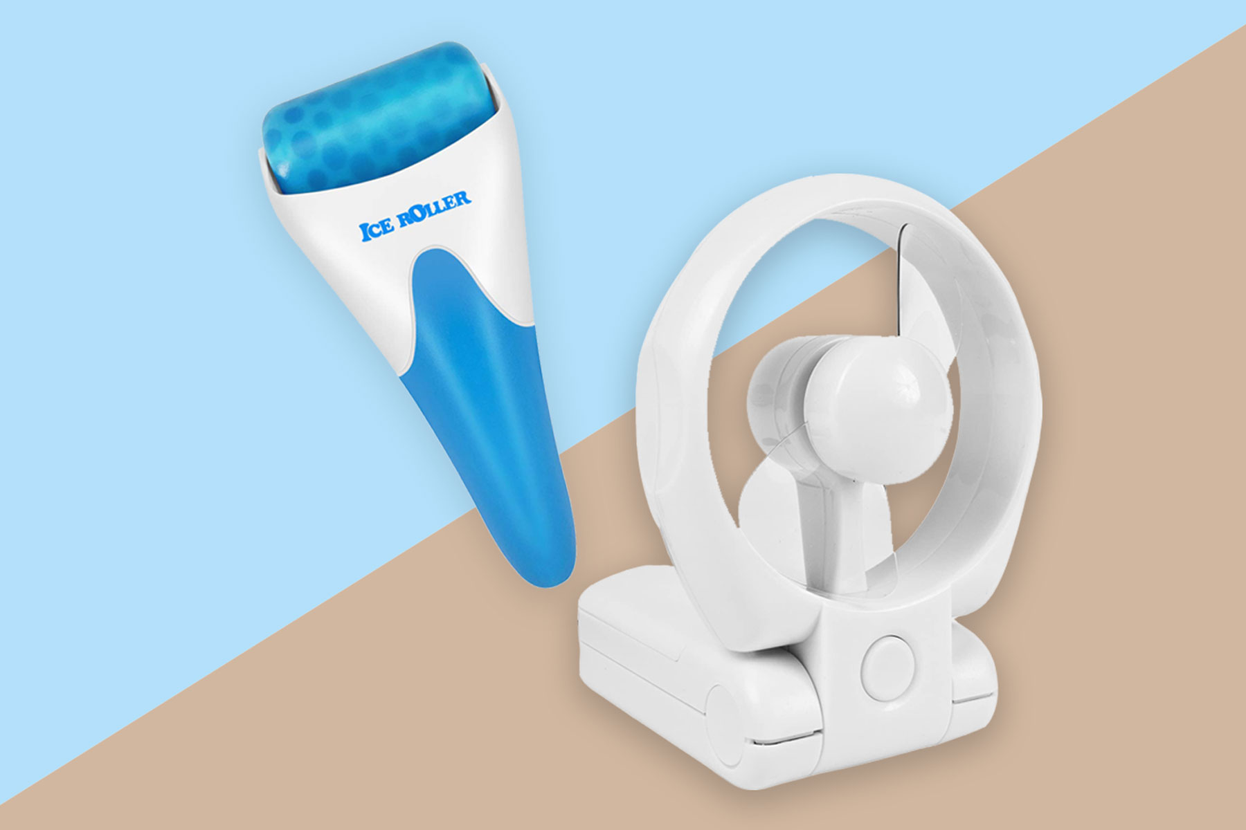 Personal fan and ice face roller