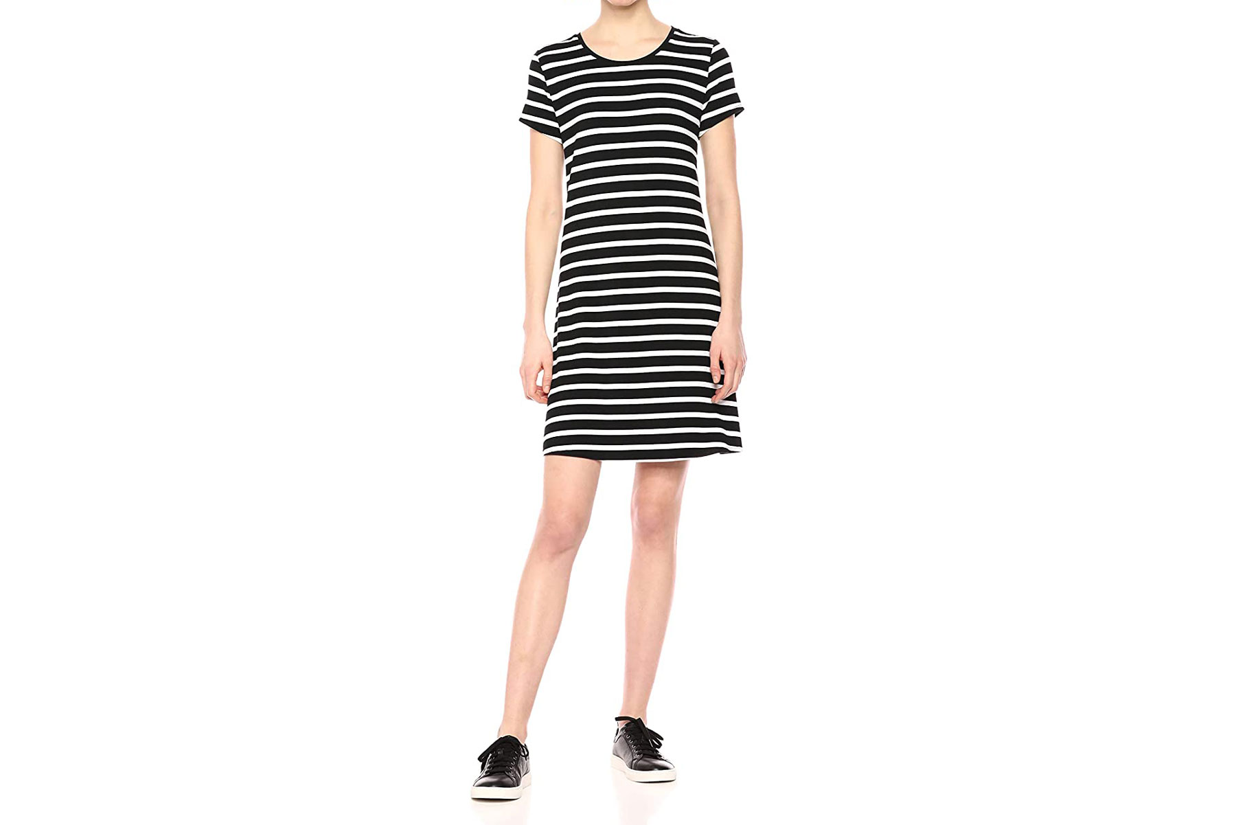 Black and white striped tee dress