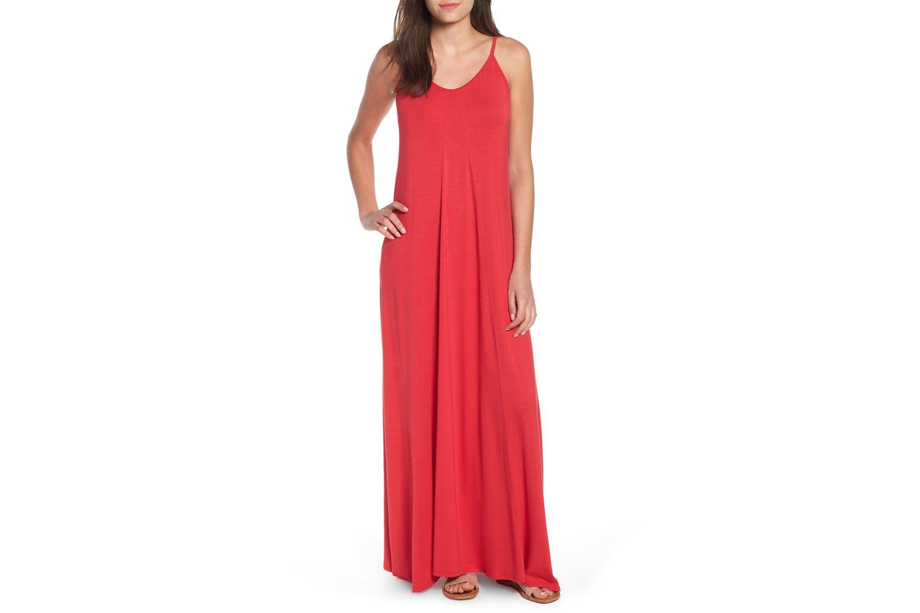 Woman wearing red maxi dress