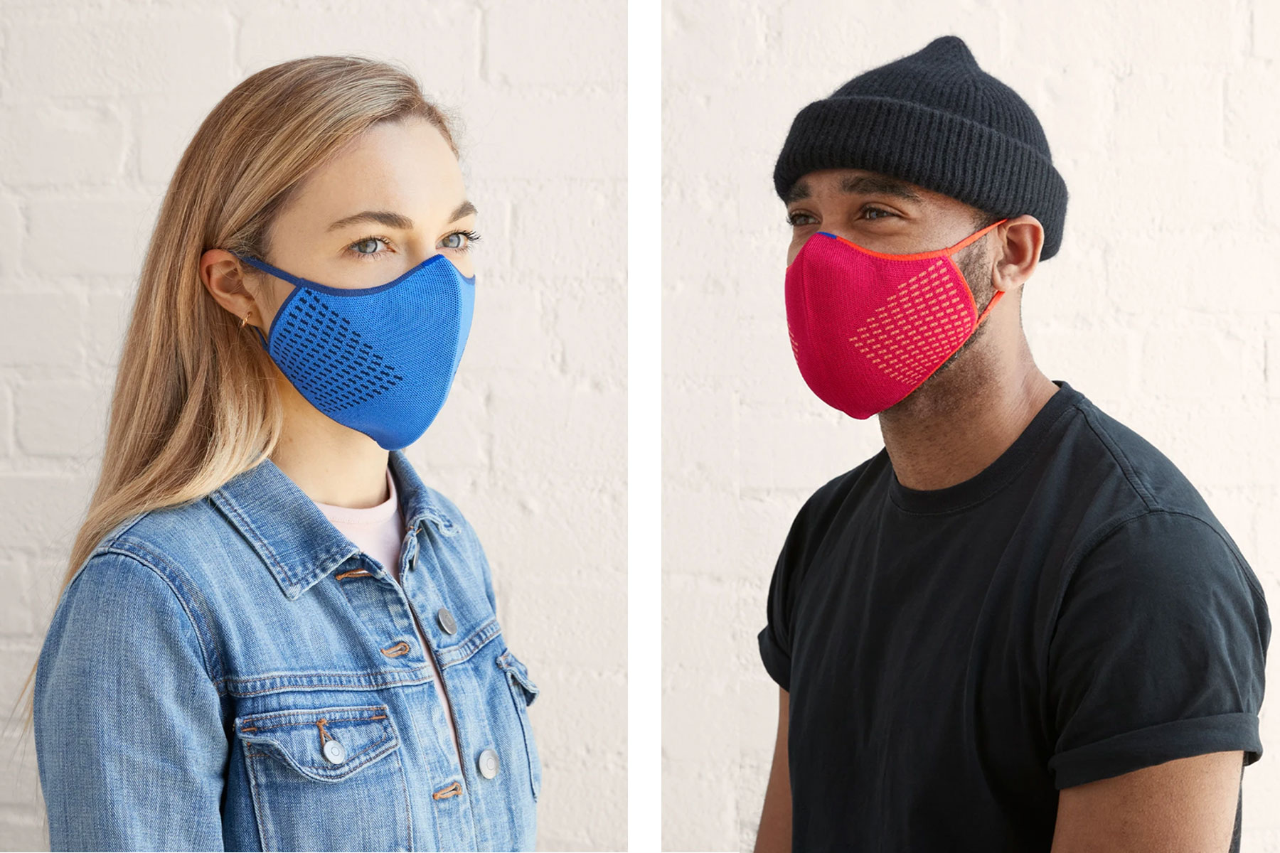 People wearing blue and pink face masks
