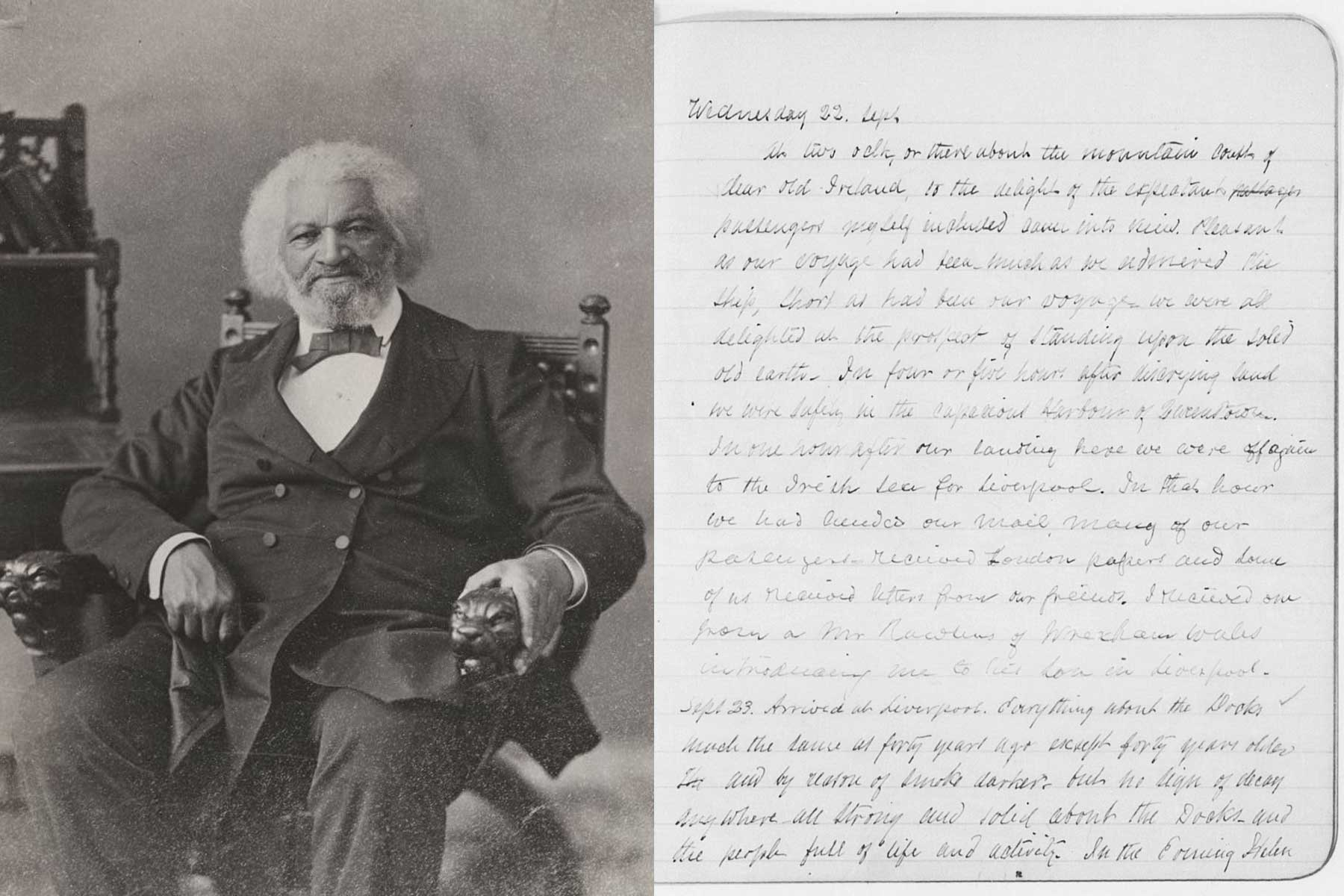 The Frederick Douglass Diary Entry from Travels and a Portrait of Frederick Douglass