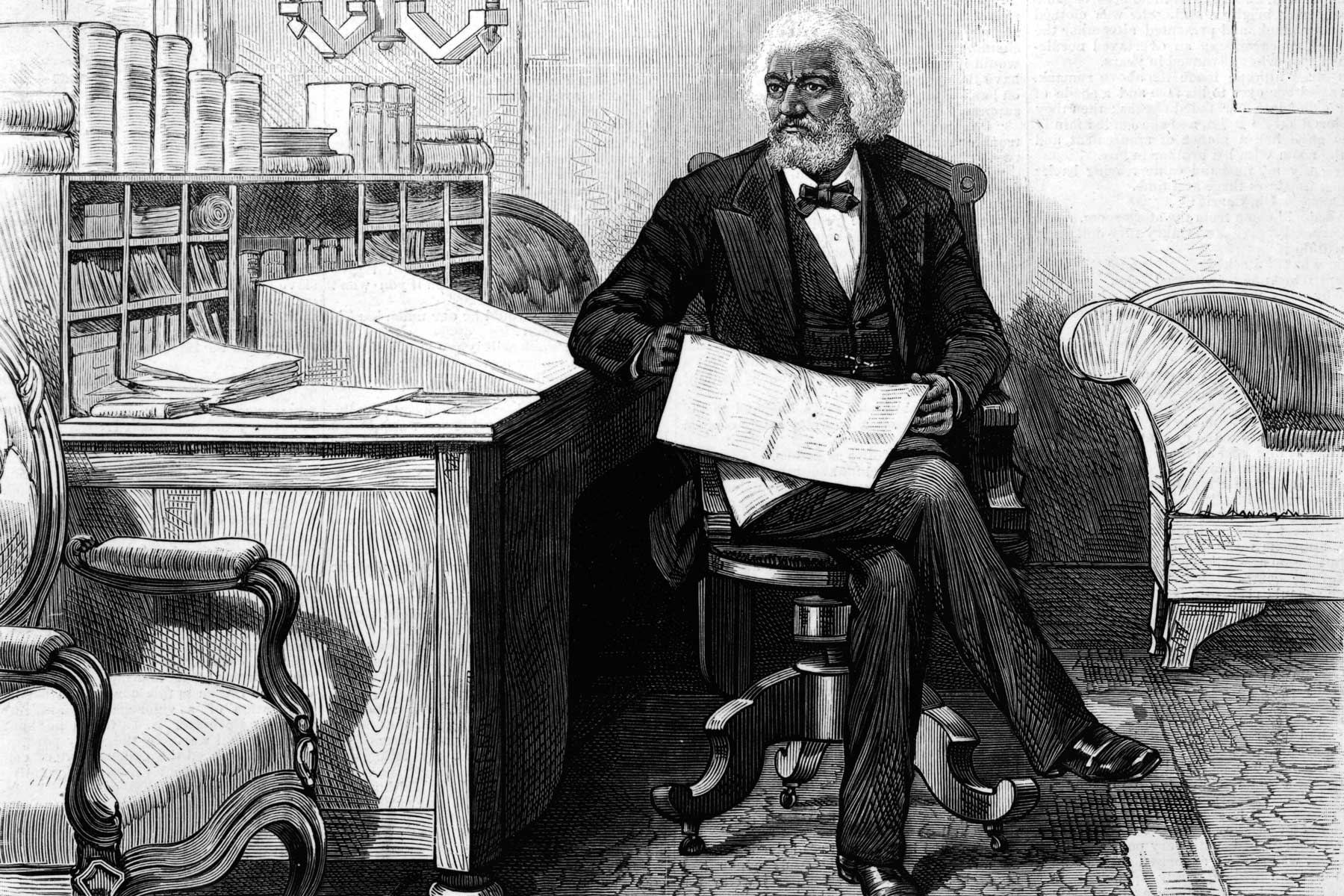 Illustration of Abolitionist Frederick Douglass Edits Newspaper