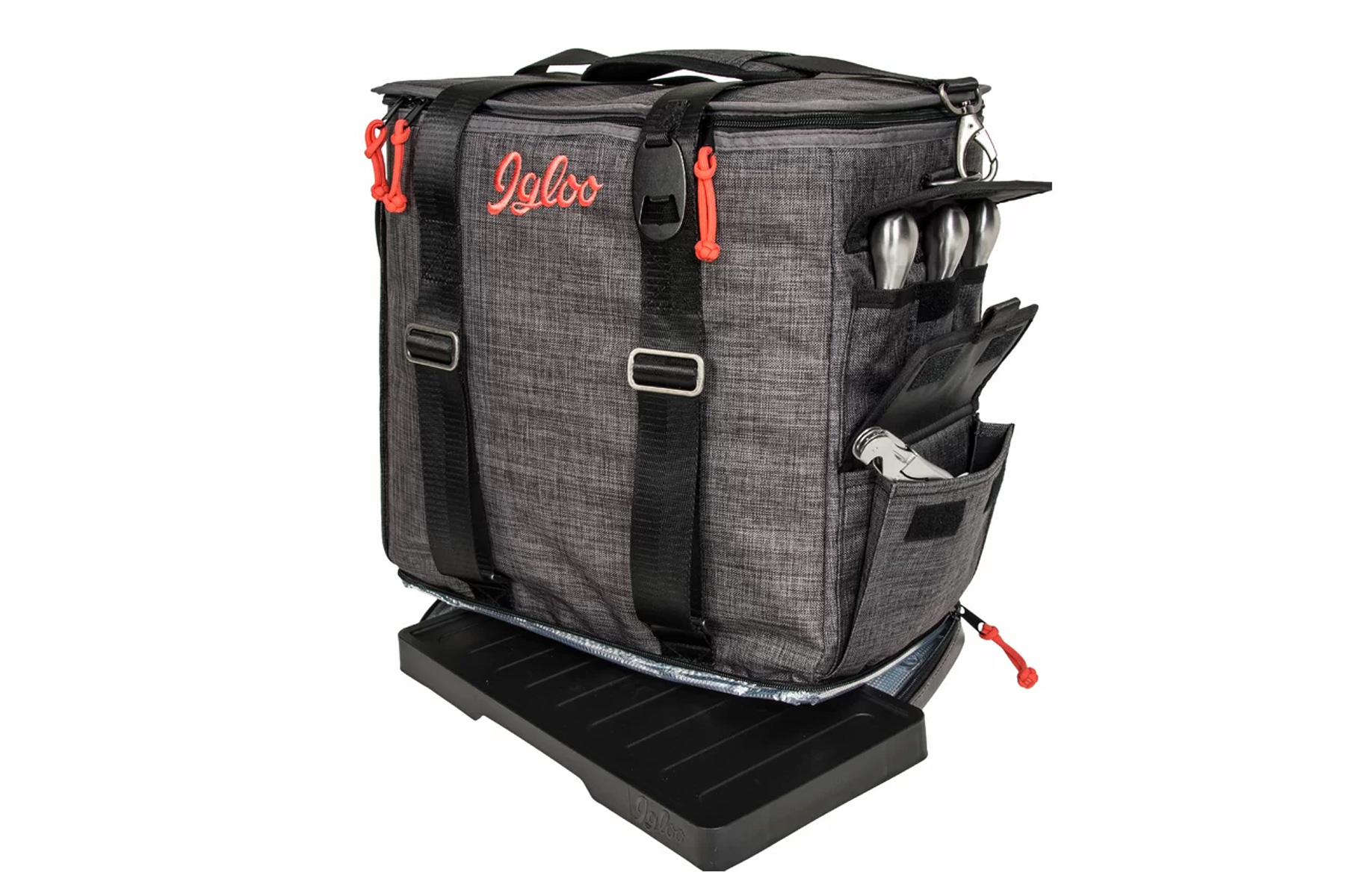 Grey and red cooler bag
