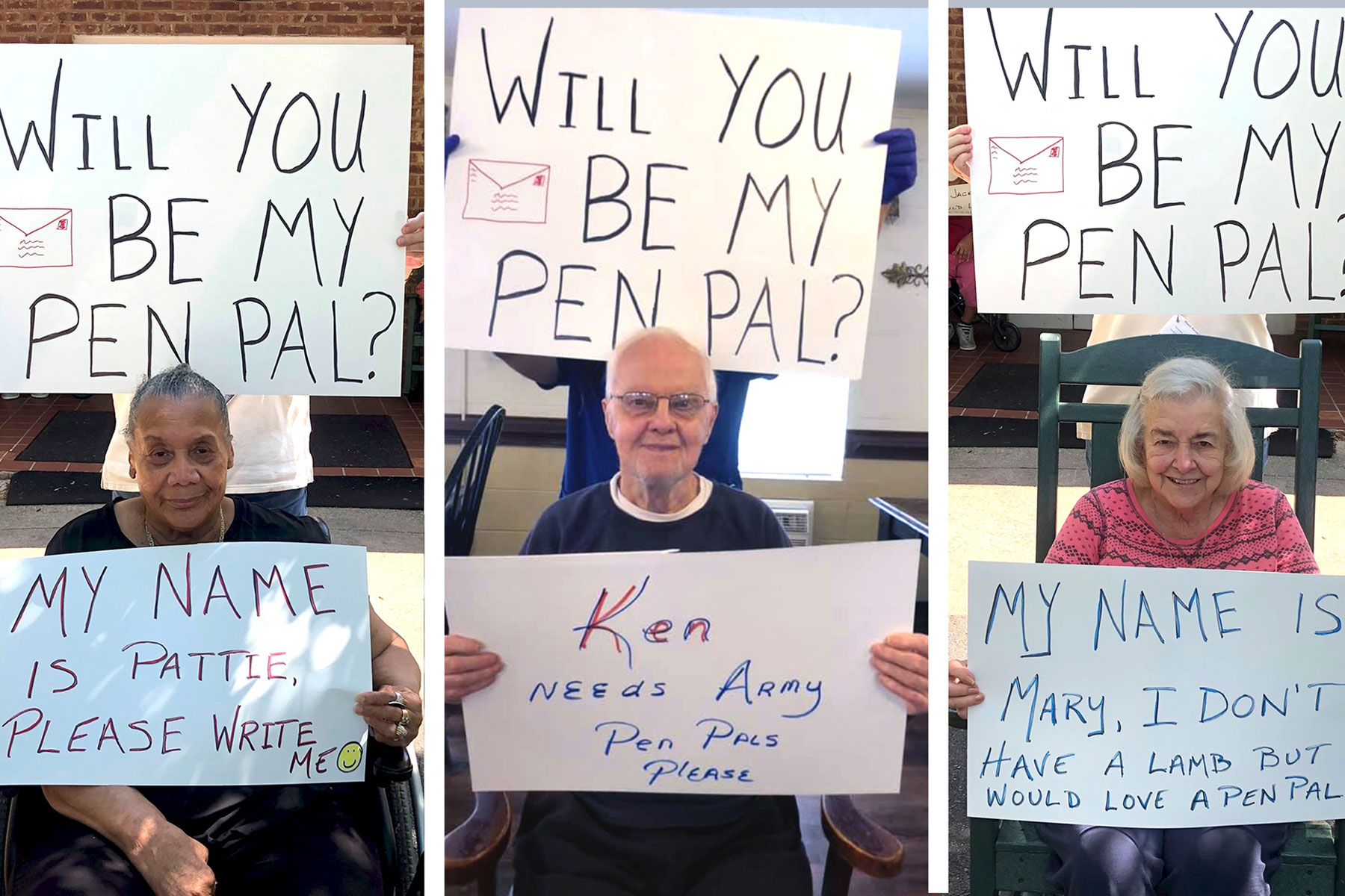 Three nursing home residents holding pen pal signage