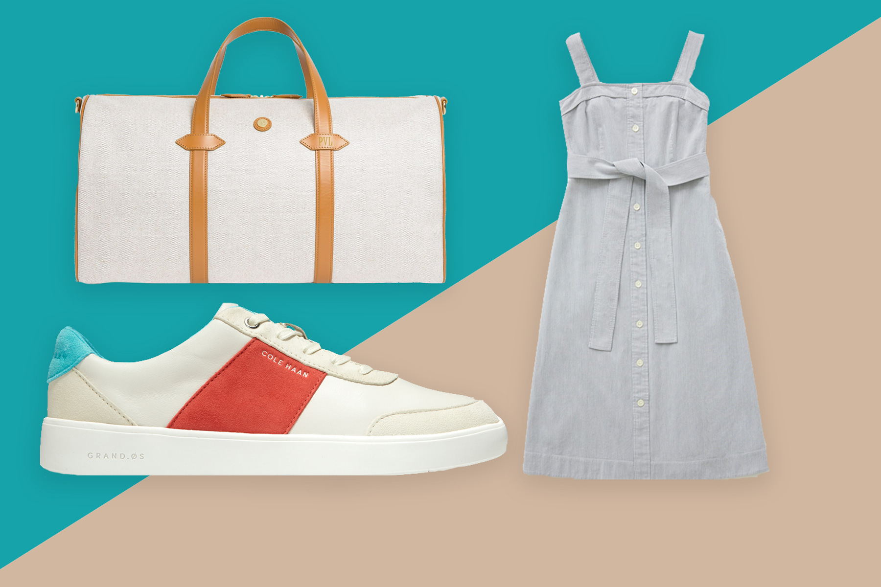 Dress, sneakers, and duffel bag