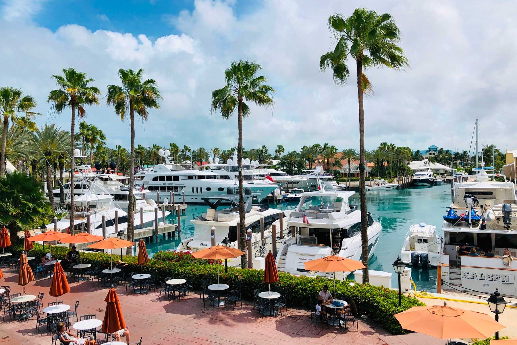 View of the marina of the Atlantis hotel in Nassau, Bahamas on May 1, 2019.