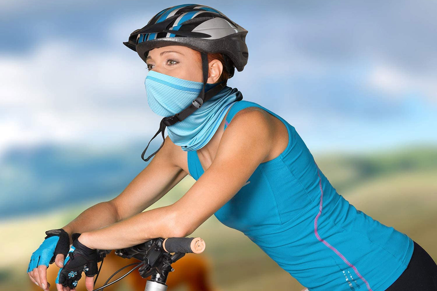 cyclist wearing face cover